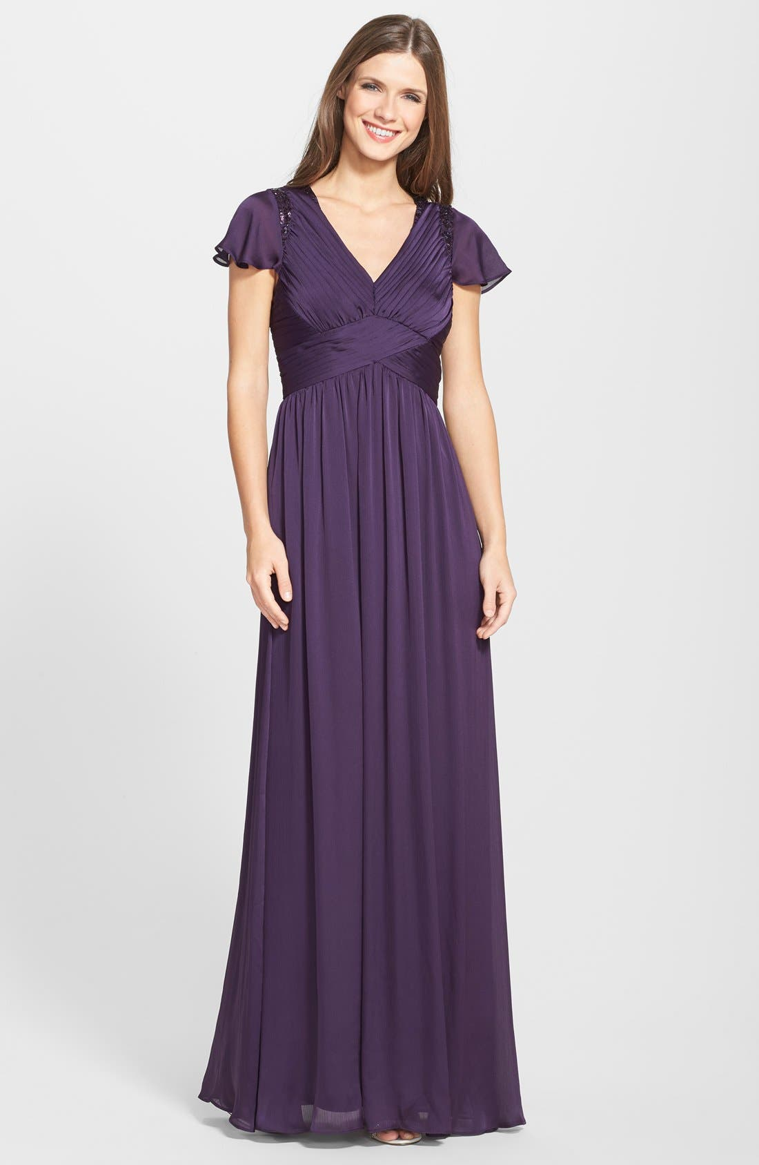 Alternate Image 1  - Adrianna Papell Sequin Shoulder Pleat Detail Chiffon Gown (Regular & Petite)