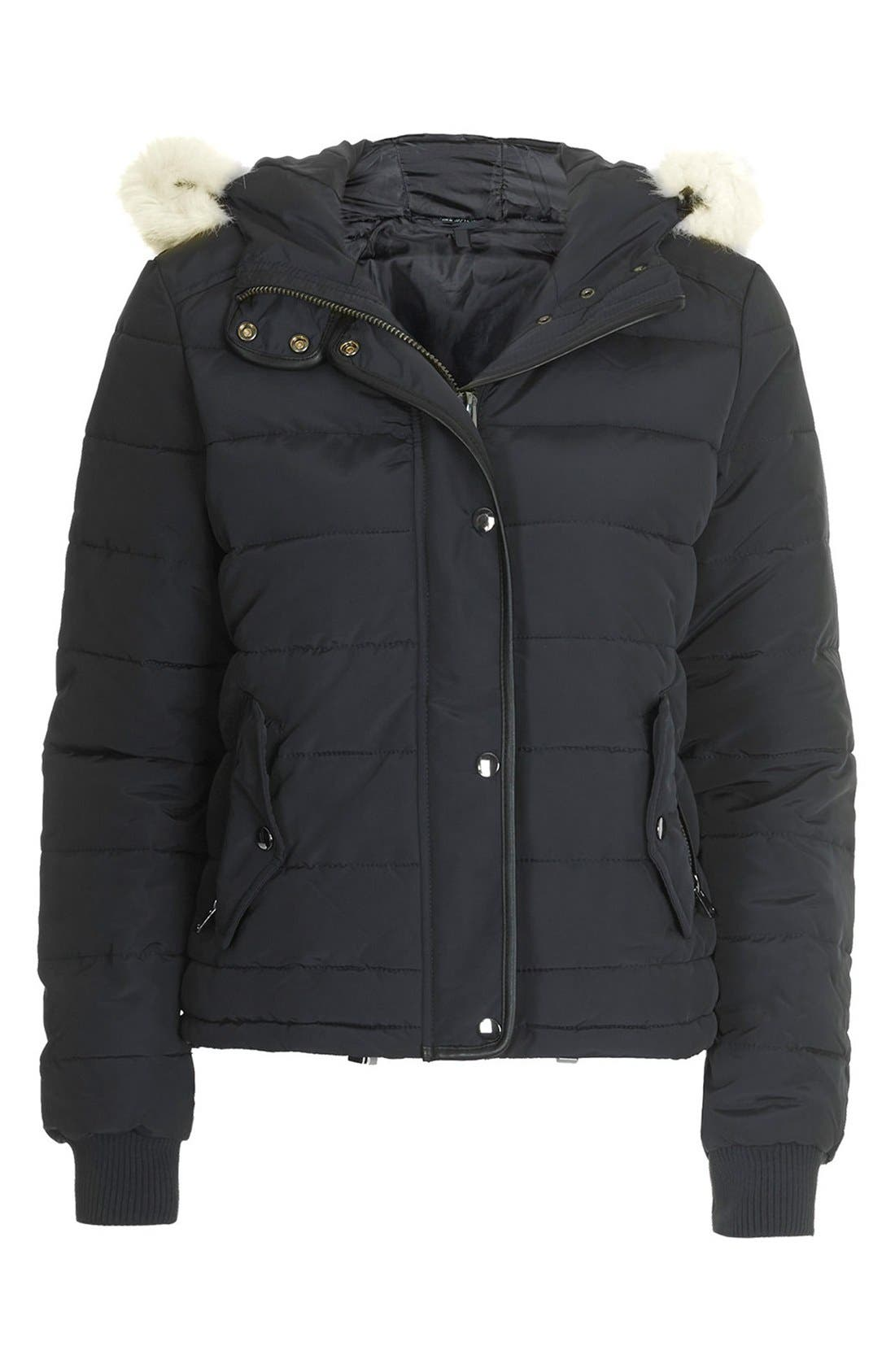 Alternate Image 3  - Topshop Faux Fur Trim Puffer Jacket