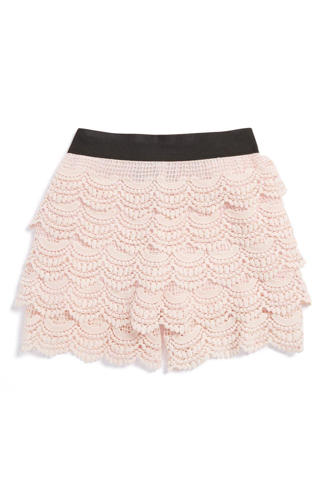 Alternate Image 1 Selected - Un Deux Trois Lacy Crochet Shorts (Big Girls)