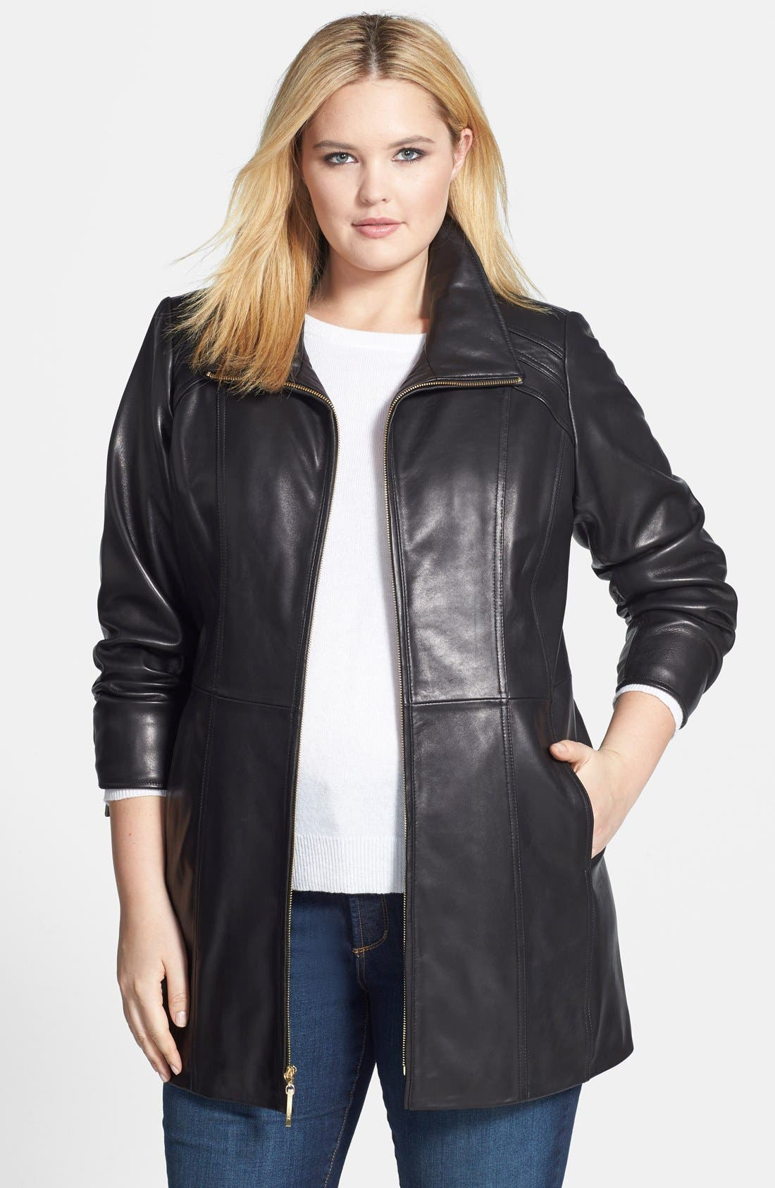 Ellen Tracy Leather Walking Coat (Plus Size)