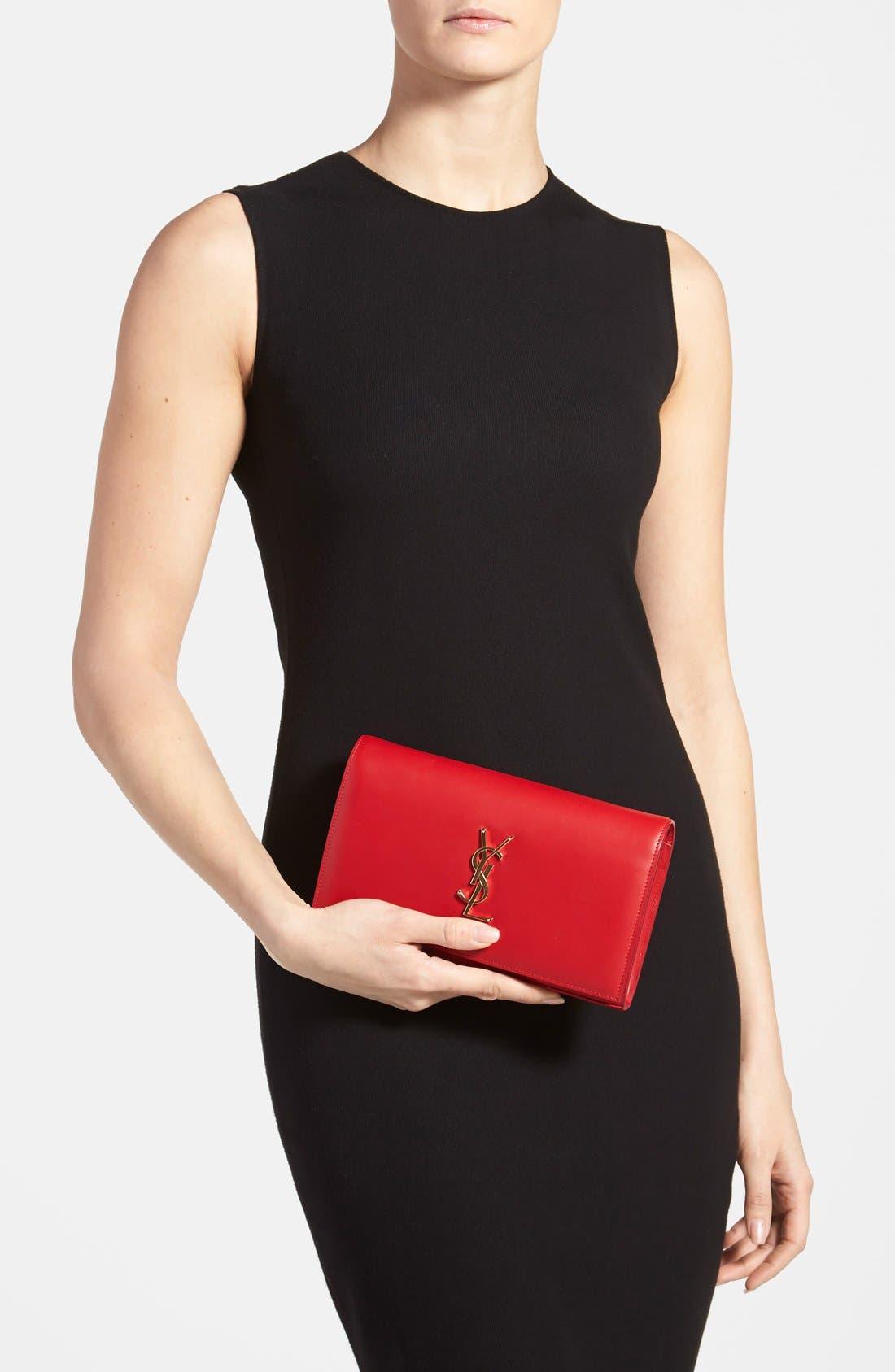 Alternate Image 2  - Saint Laurent 'Monogram' Leather Wallet on a Chain