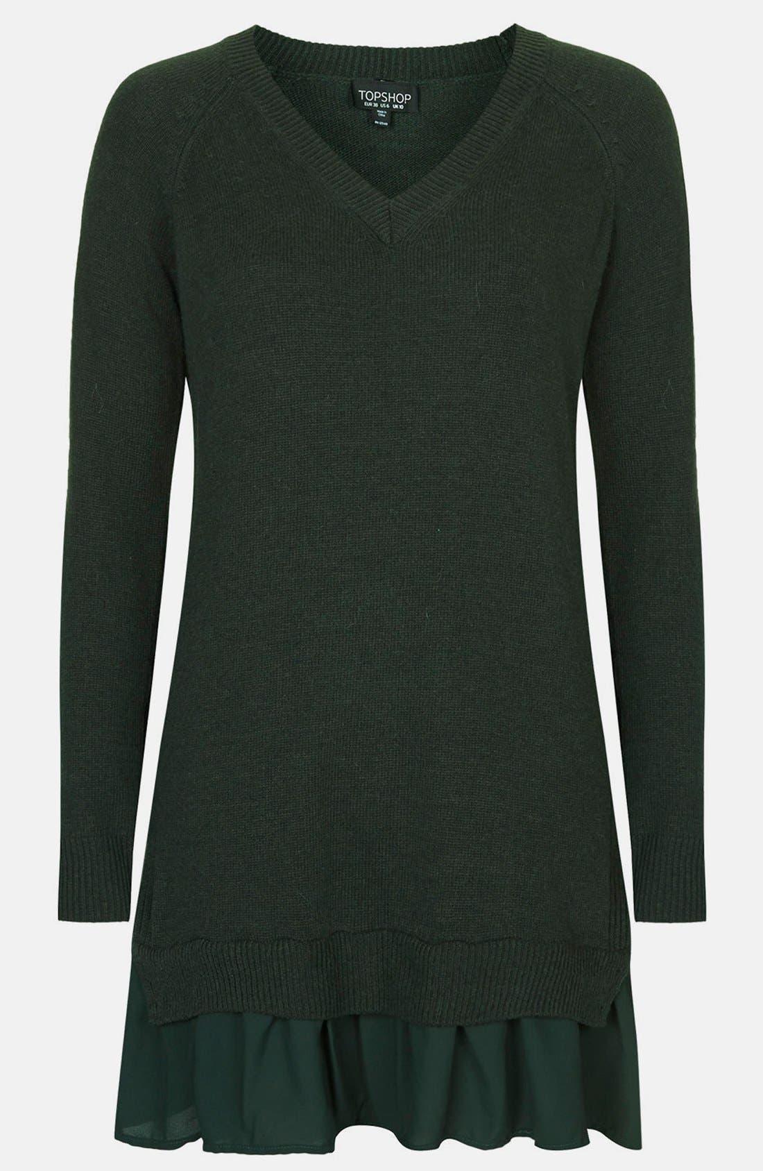 Alternate Image 3  - Topshop Woven Hem V-Neck Sweater Dress