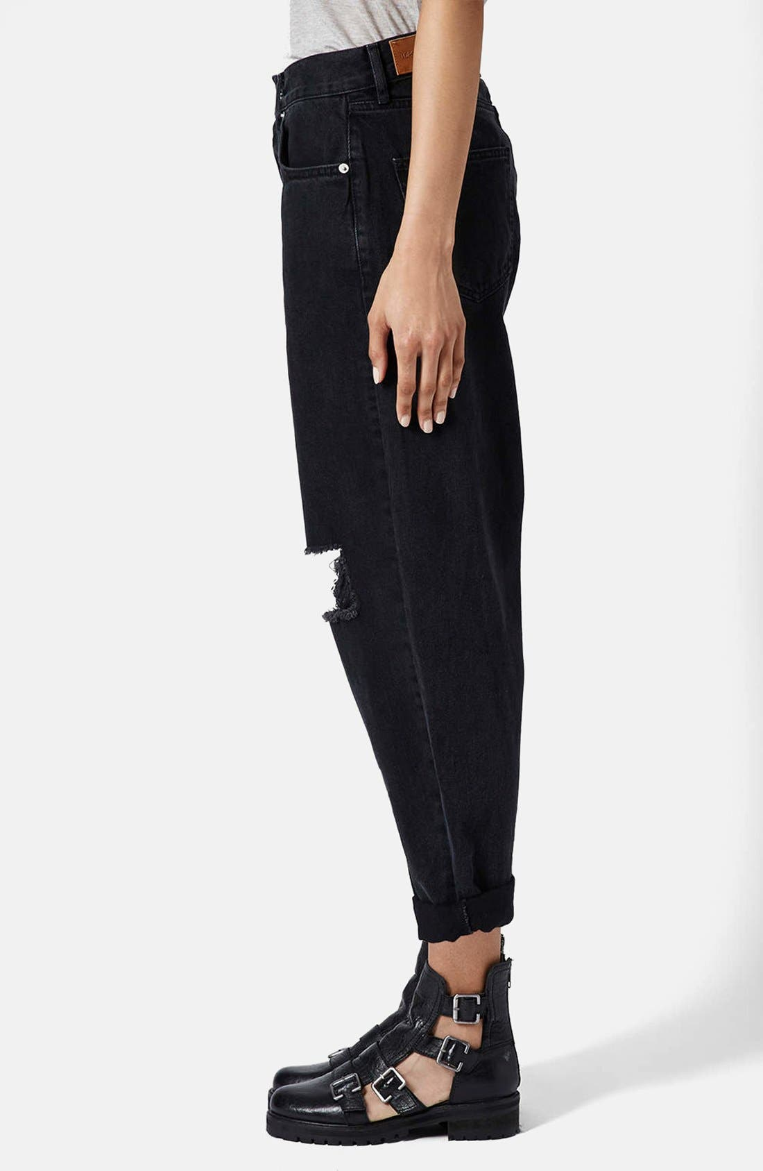 Alternate Image 5  - Topshop Boutique Ripped Baggy Jeans (Black)