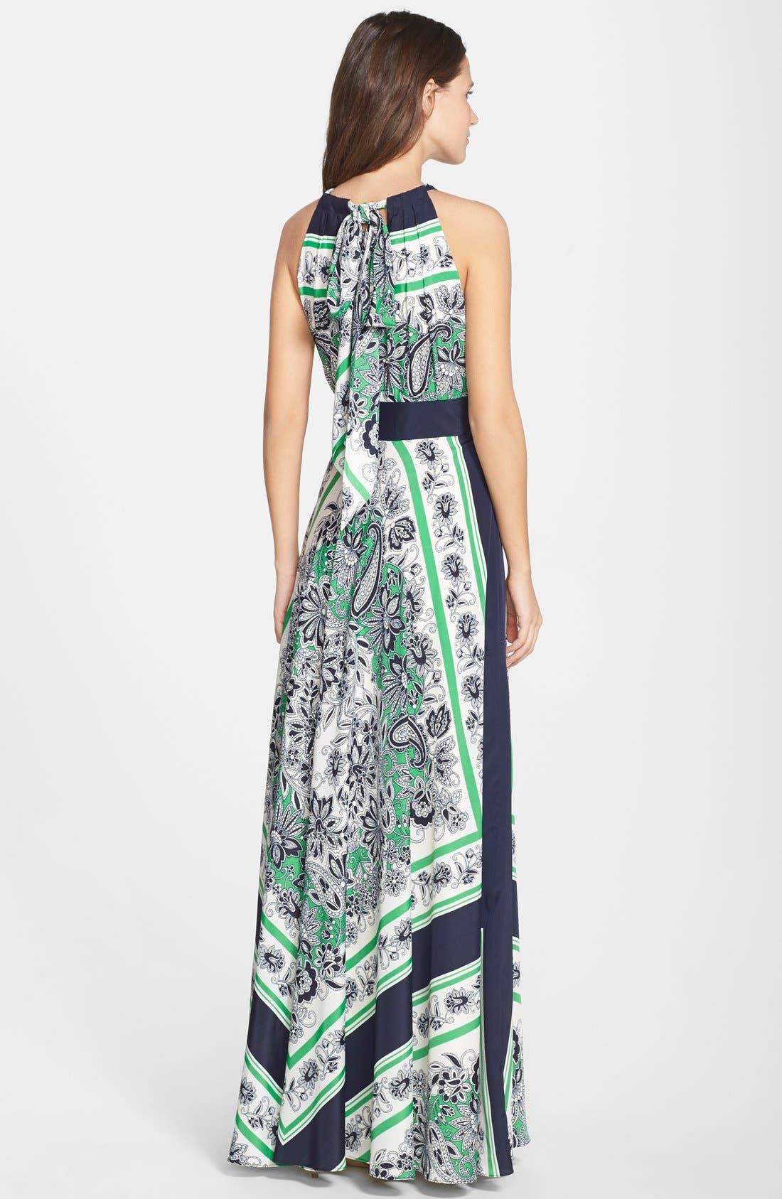 Alternate Image 2  - Eliza J Scarf Print Halter Maxi Dress (Regular & Petite)