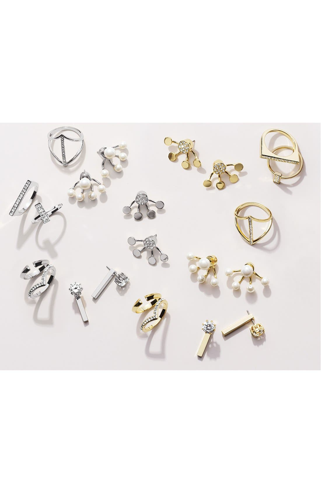 Alternate Image 2  - Ariella Collection Crystal & Bar Drop Back Earrings