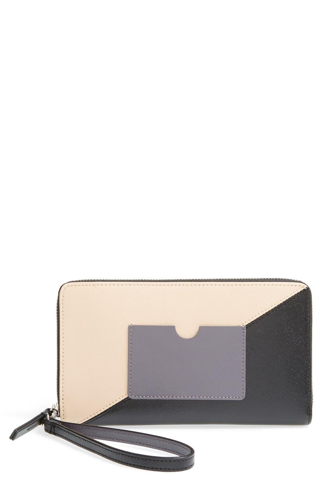 Main Image - Halogen® Saffiano Leather Zip Around Wallet