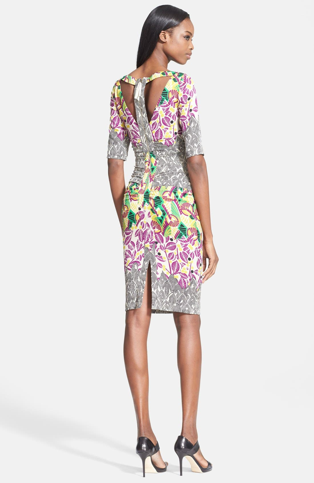 Alternate Image 2  - Tracy Reese Mixed Print Stretch Silk T-Back Dress