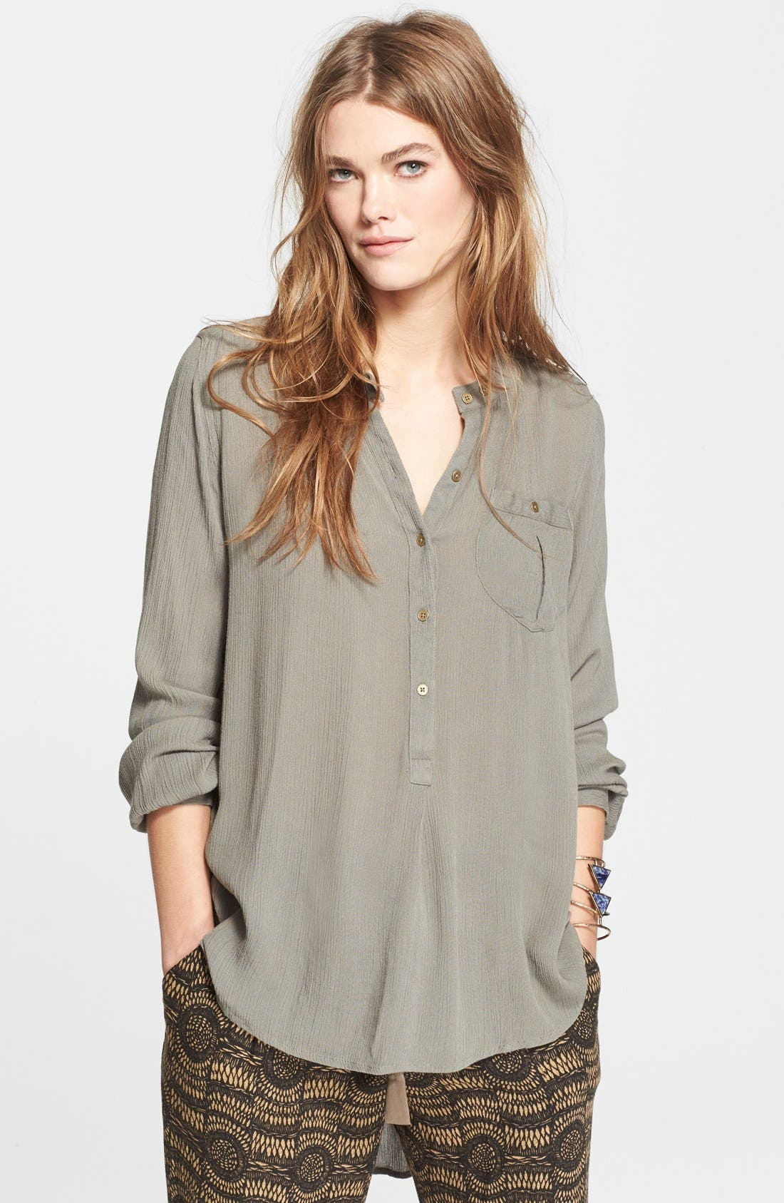Alternate Image 1 Selected - Free People Boyfriend Button Down Top