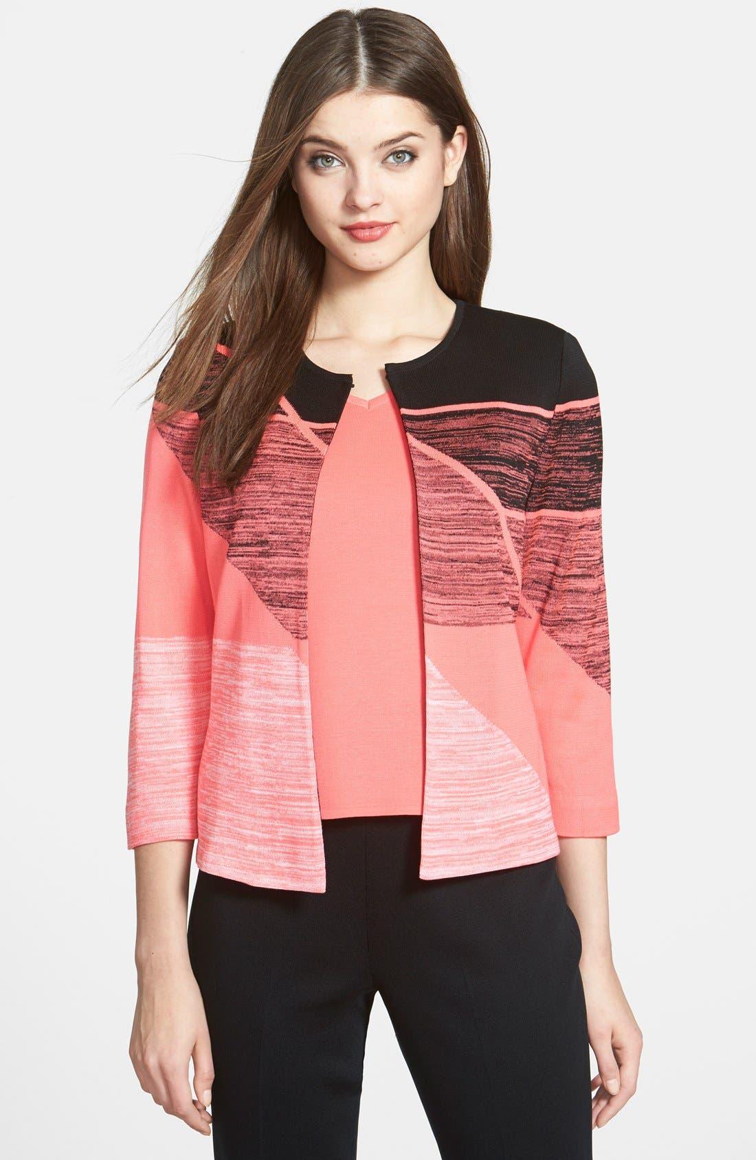 Alternate Image 1 Selected - Ming Wang Geometric Collarless Knit Jacket