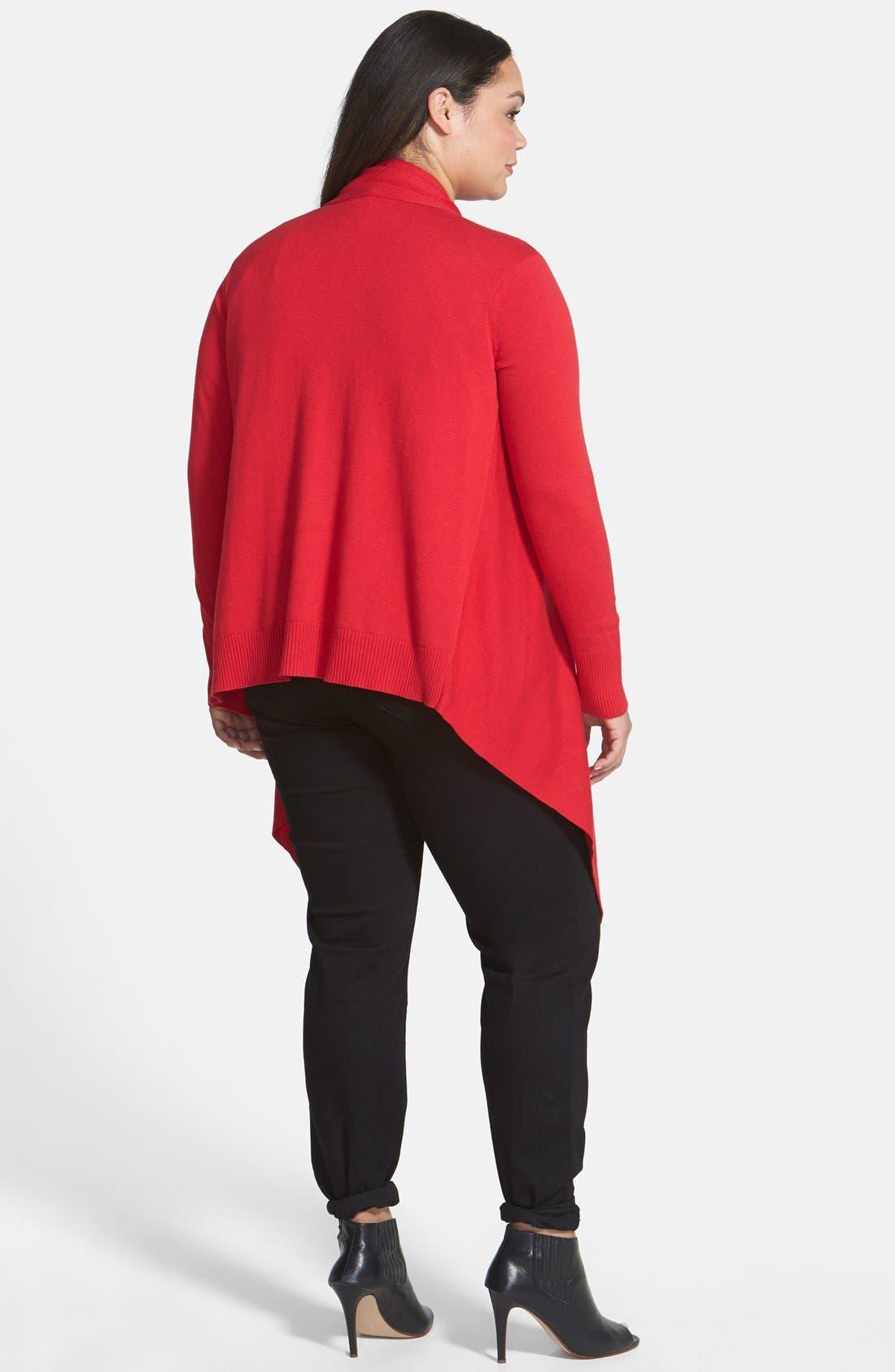 Alternate Image 2  - DKNYC Oversize Drape Front Cardigan (Plus Size)