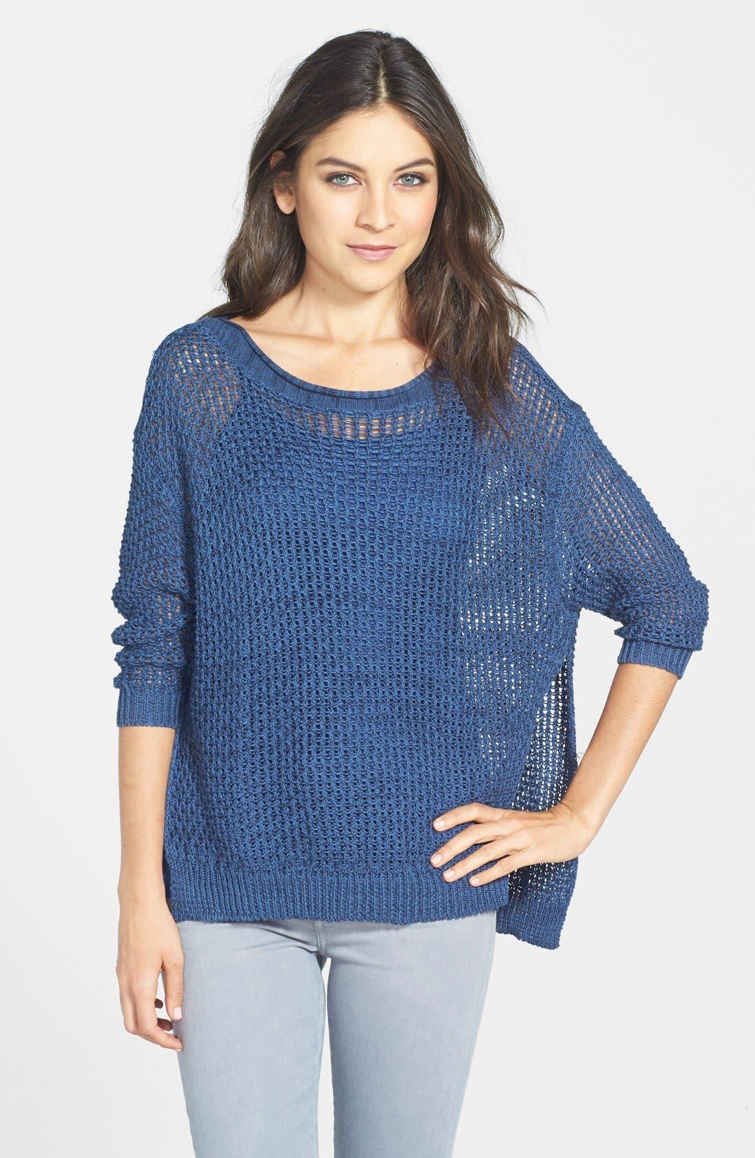 Alternate Image 1 Selected - Dex High/Low Hem Open Stitch Sweater