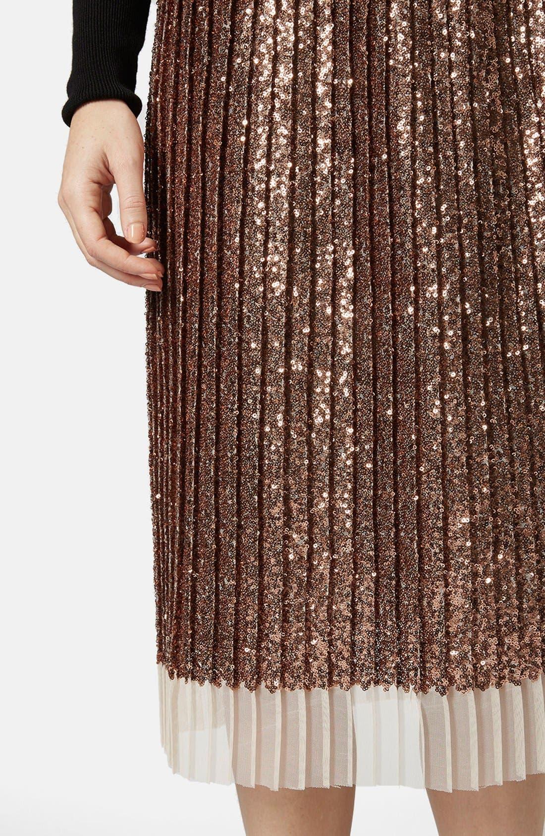 Alternate Image 4  - Topshop Sequin Pleated Midi Skirt