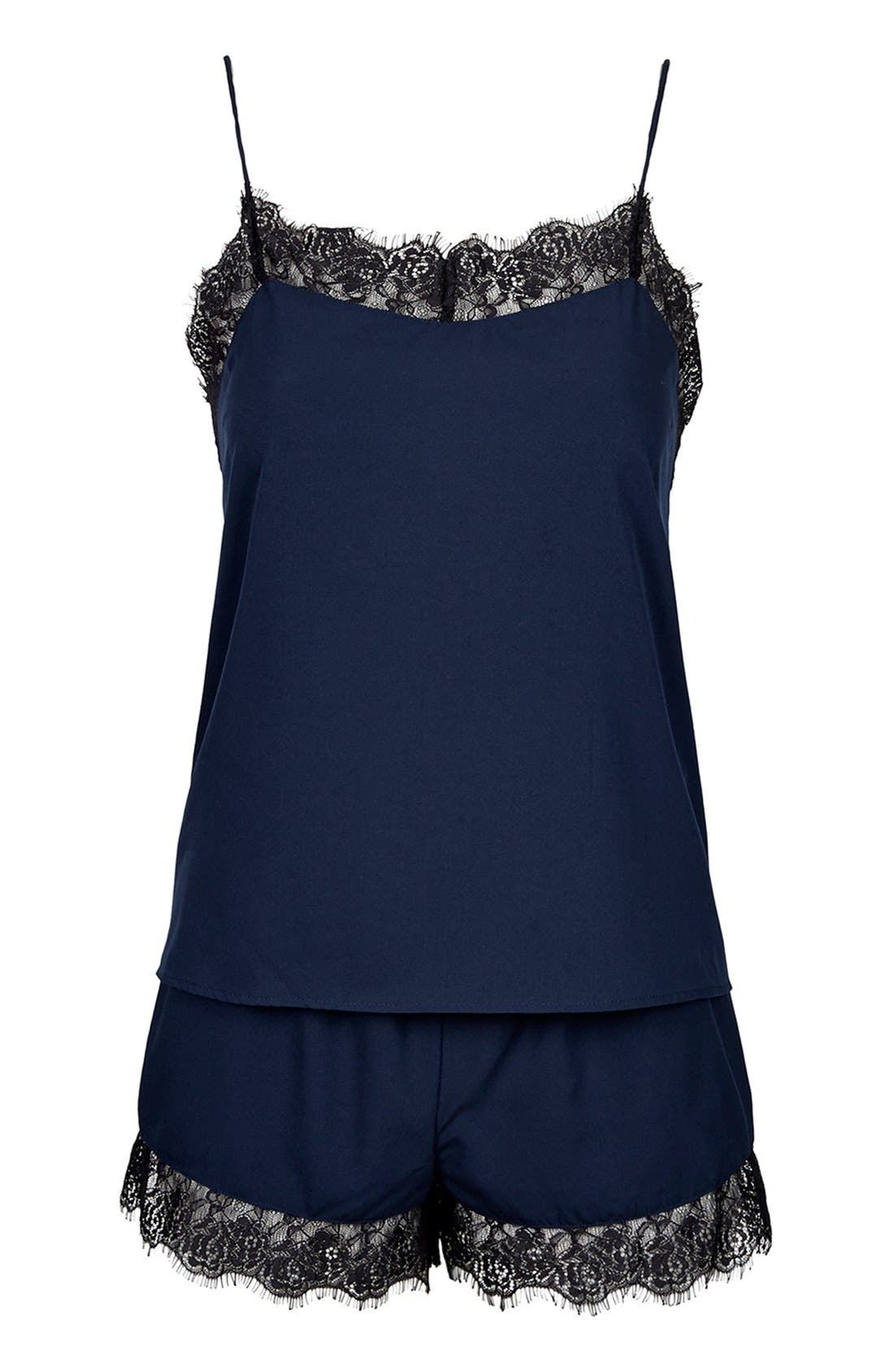 Alternate Image 3  - Topshop Eyelash Lace Pajama Set