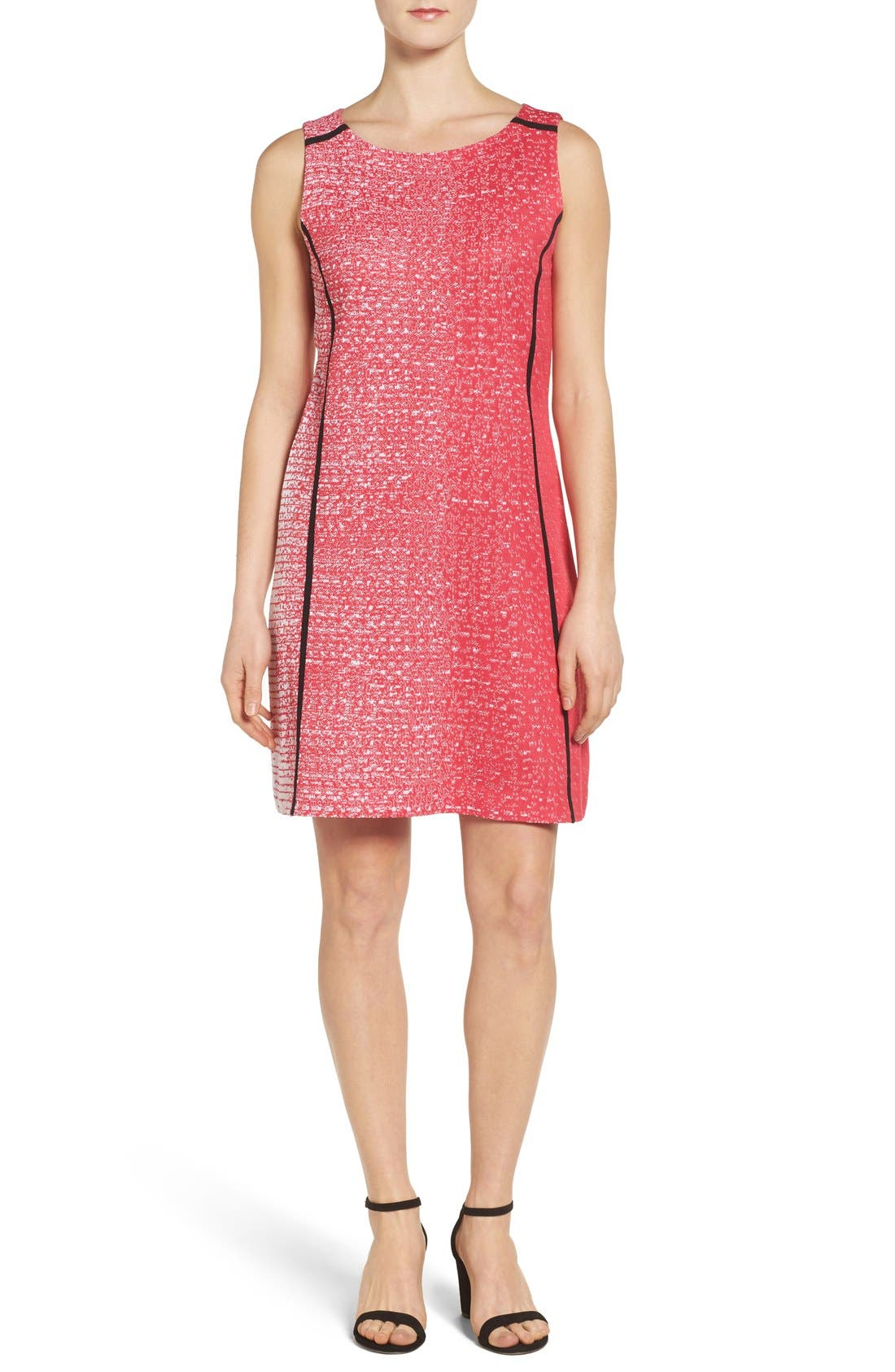 MING WANG Contrast Piping Knit A-Line Dress