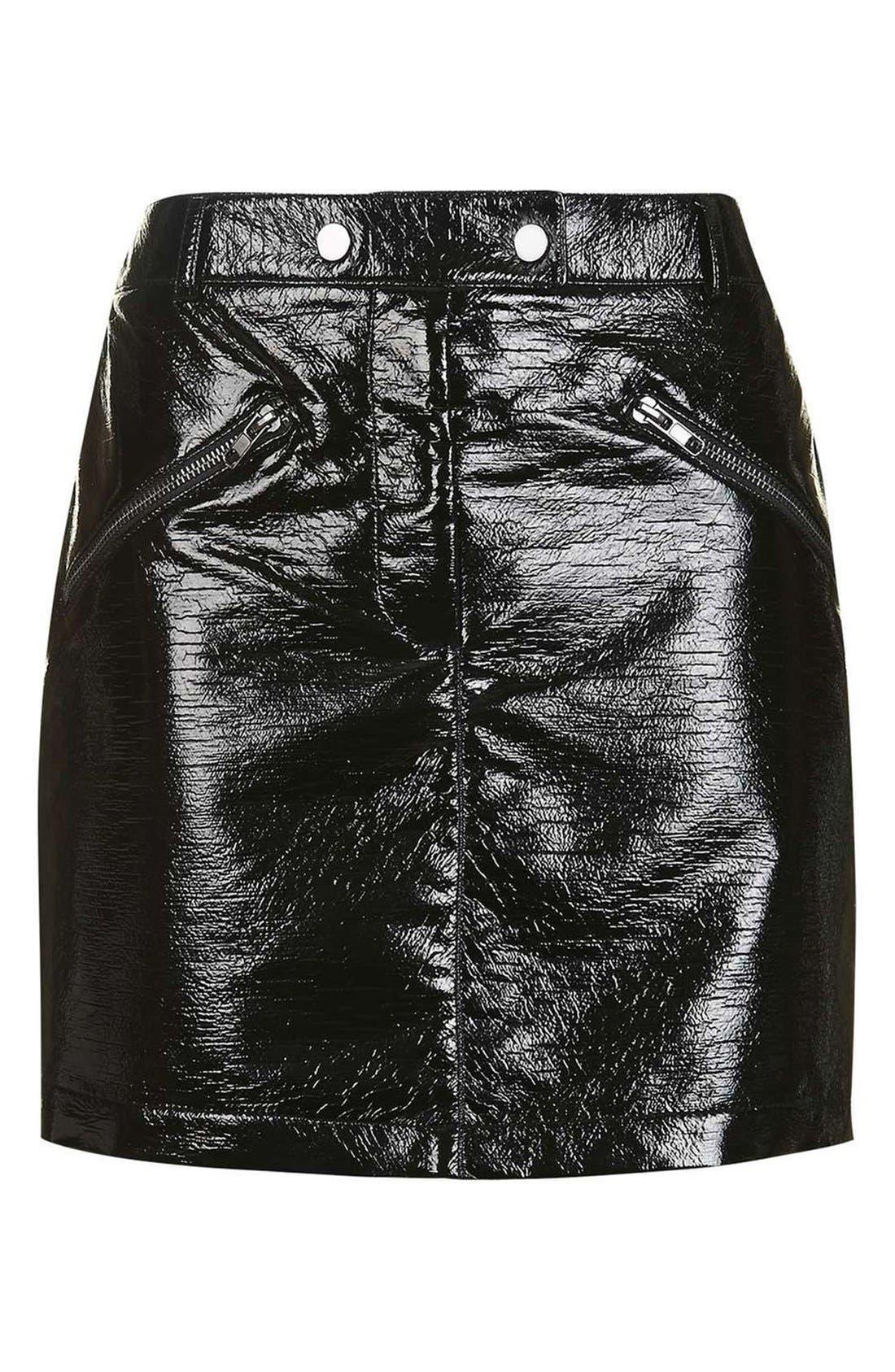 Alternate Image 4  - Topshop Faux Leather Miniskirt
