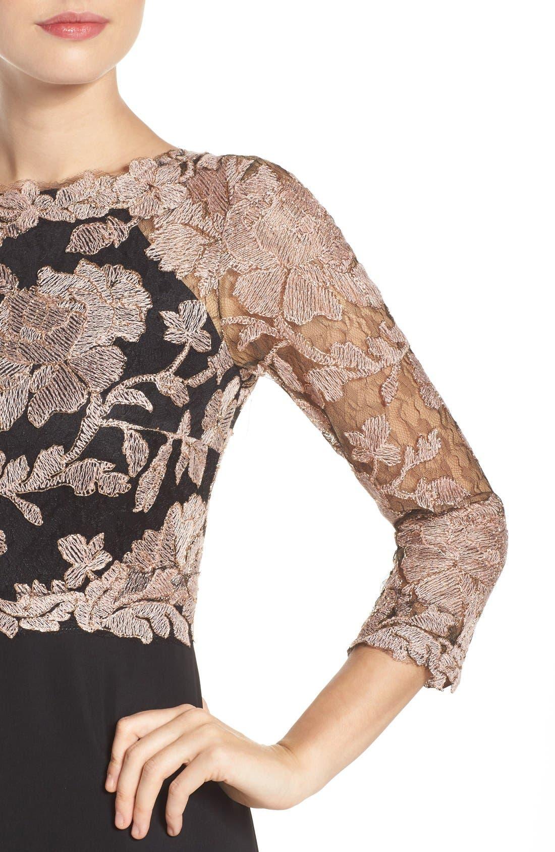 Alternate Image 4  - Tadashi Shoji Embroidered Lace Gown (Regular & Petite)
