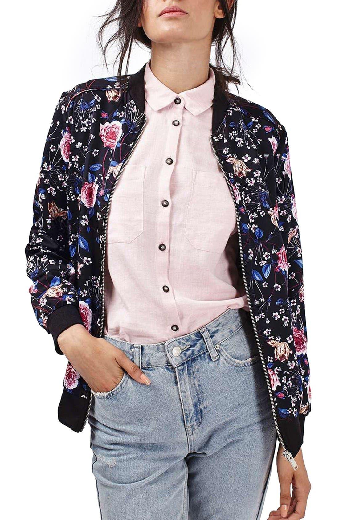 Main Image - Topshop Floral Print Bomber Jacket