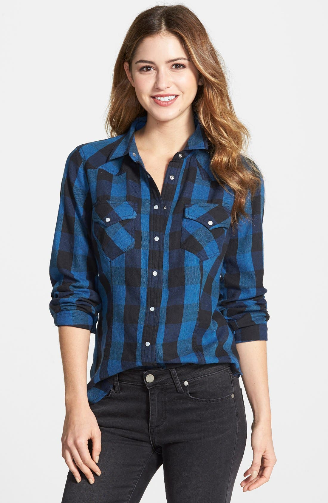 Alternate Image 1 Selected - Sandra Ingrish Check Cotton Flannel Shirt (Online Only)