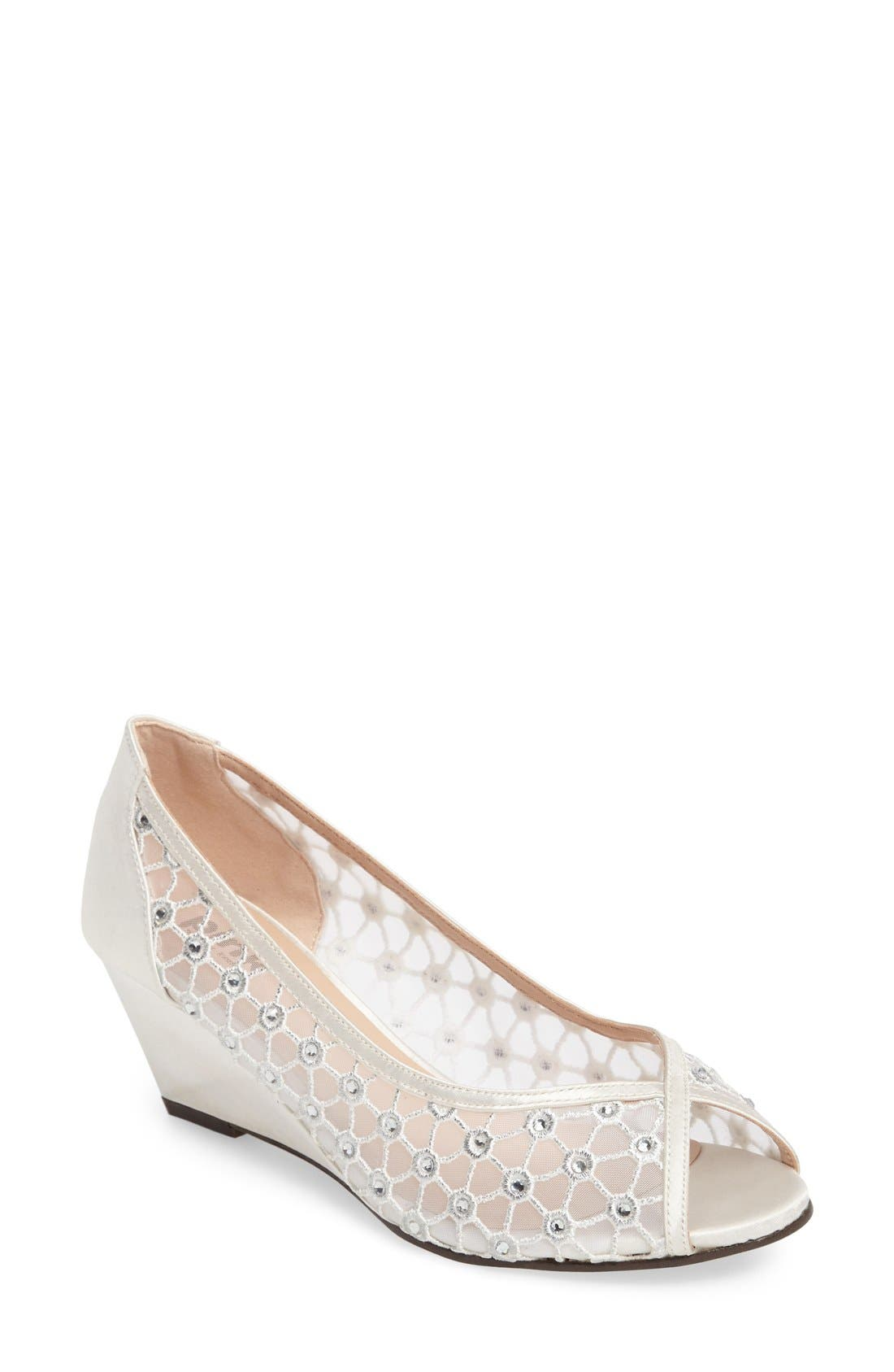 pink paradox london Brianna Crystal Embellished Lace Wedge (Women)