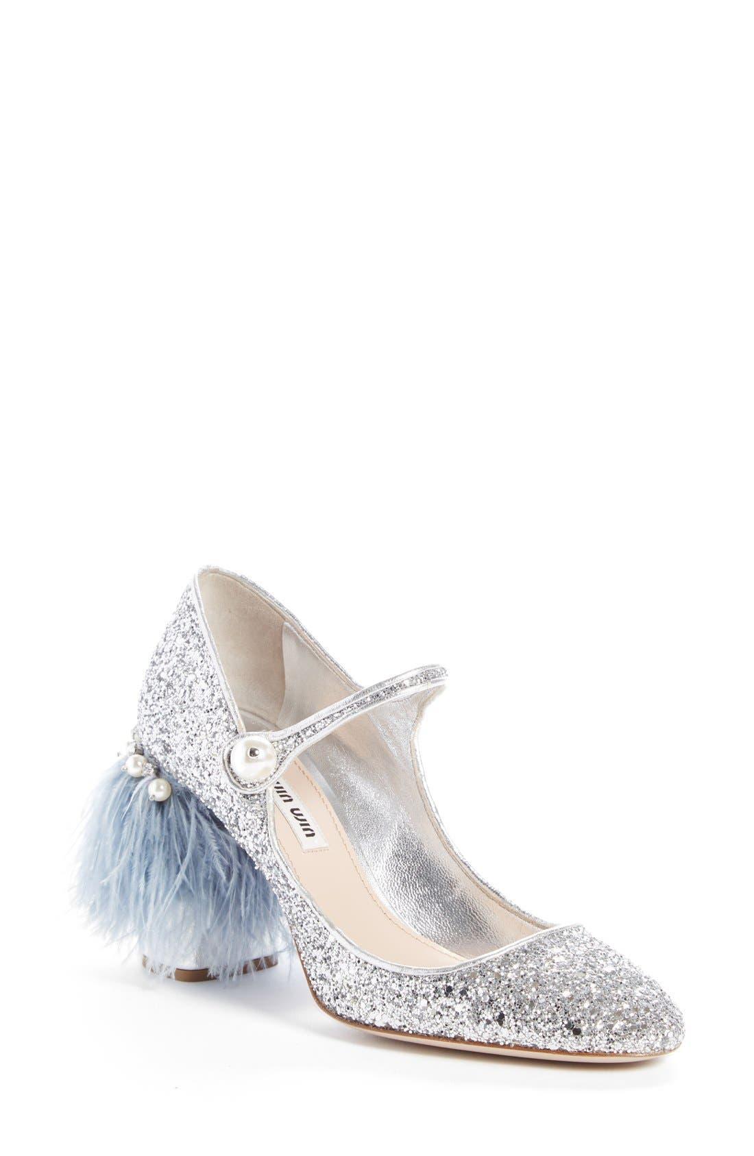 Main Image - Miu Miu Feather Block Heel Mary Jane Pump (Women)