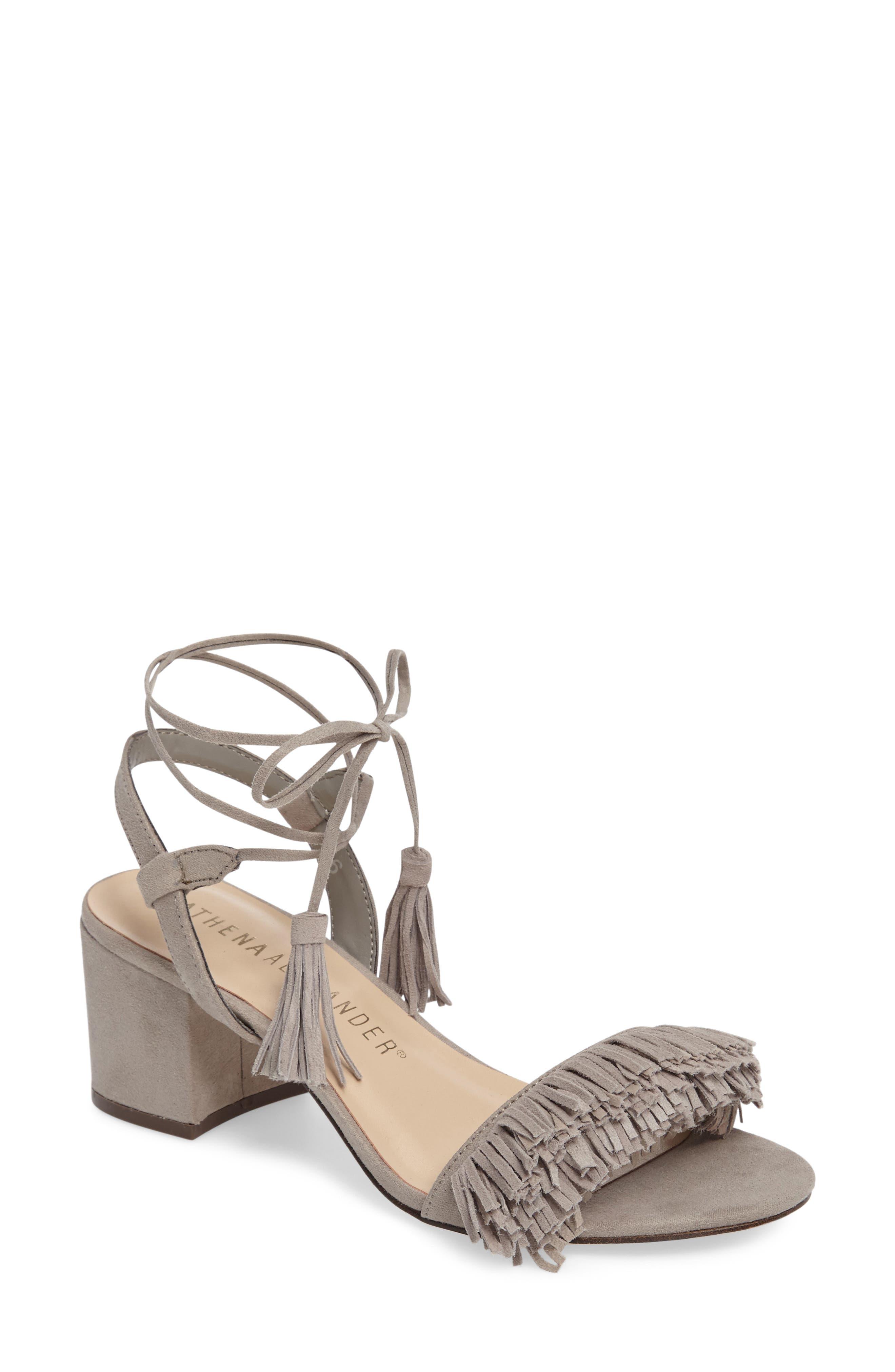 ATHENA ALEXANDER Fringed Ankle Wrap Sandal