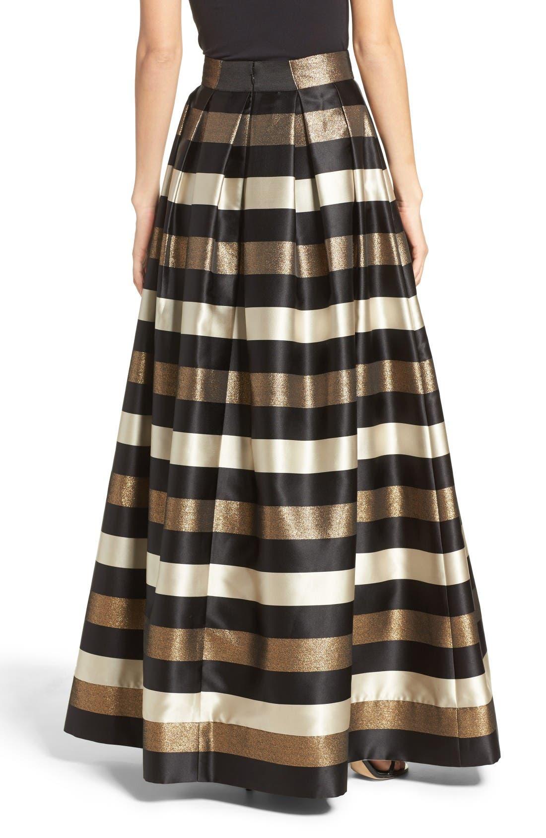 Alternate Image 3  - Eliza J Metallic Stripe Ball Skirt