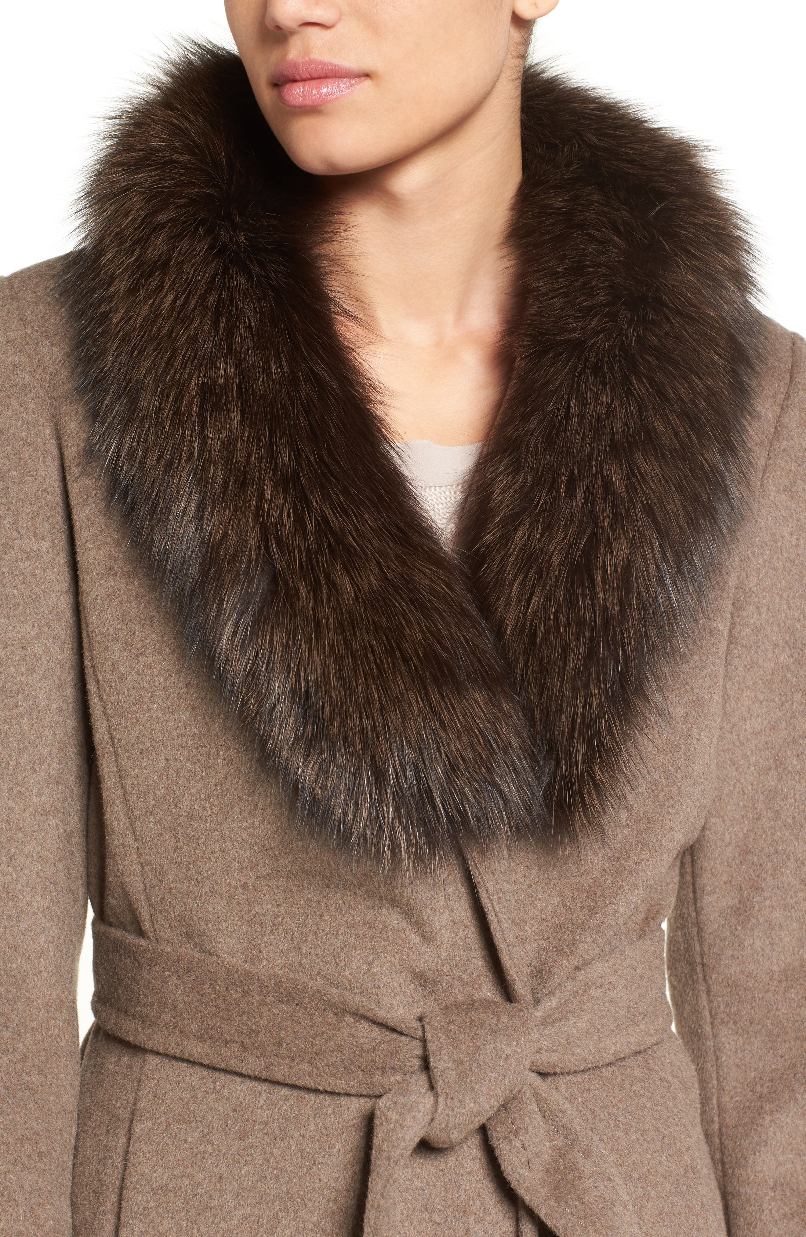 Alternate Image 4  - Ellen Tracy Genuine Fox Collar Wool Blend Long Wrap Coat