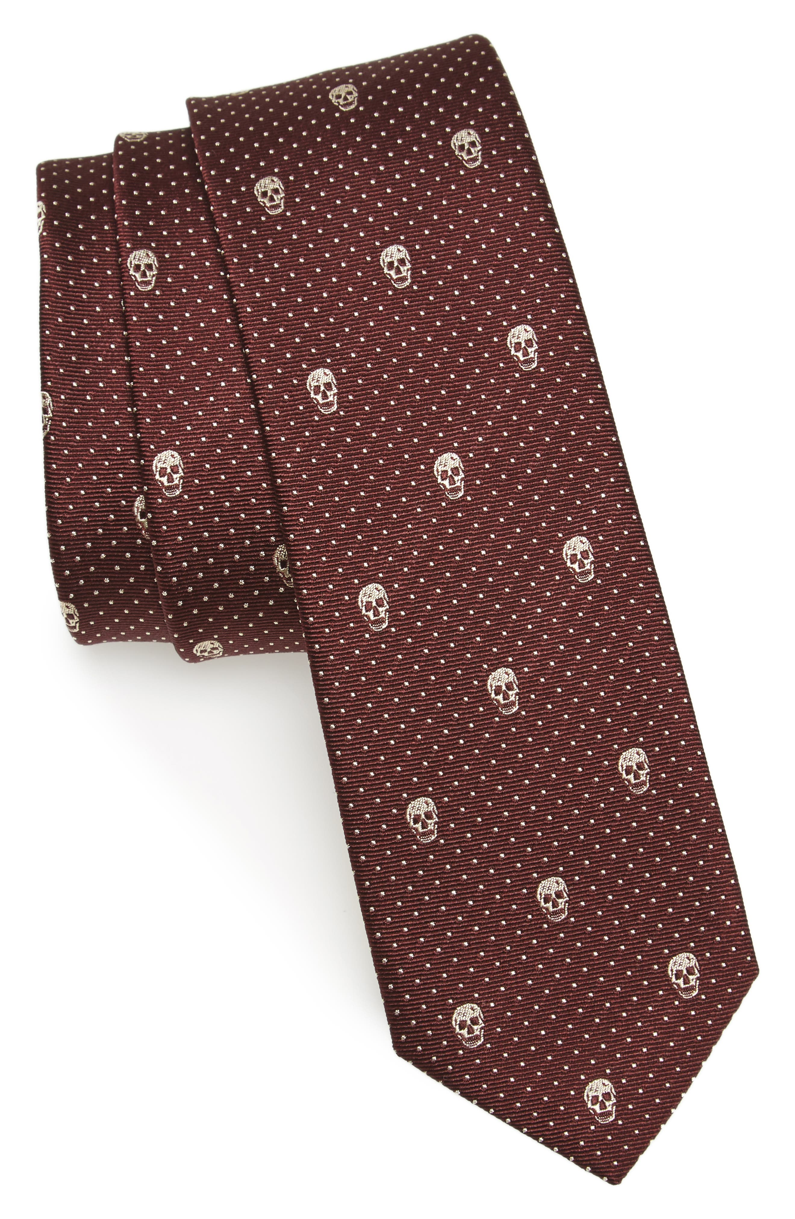 Alexander McQueen Skull Polka Dot Silk Skinny Tie