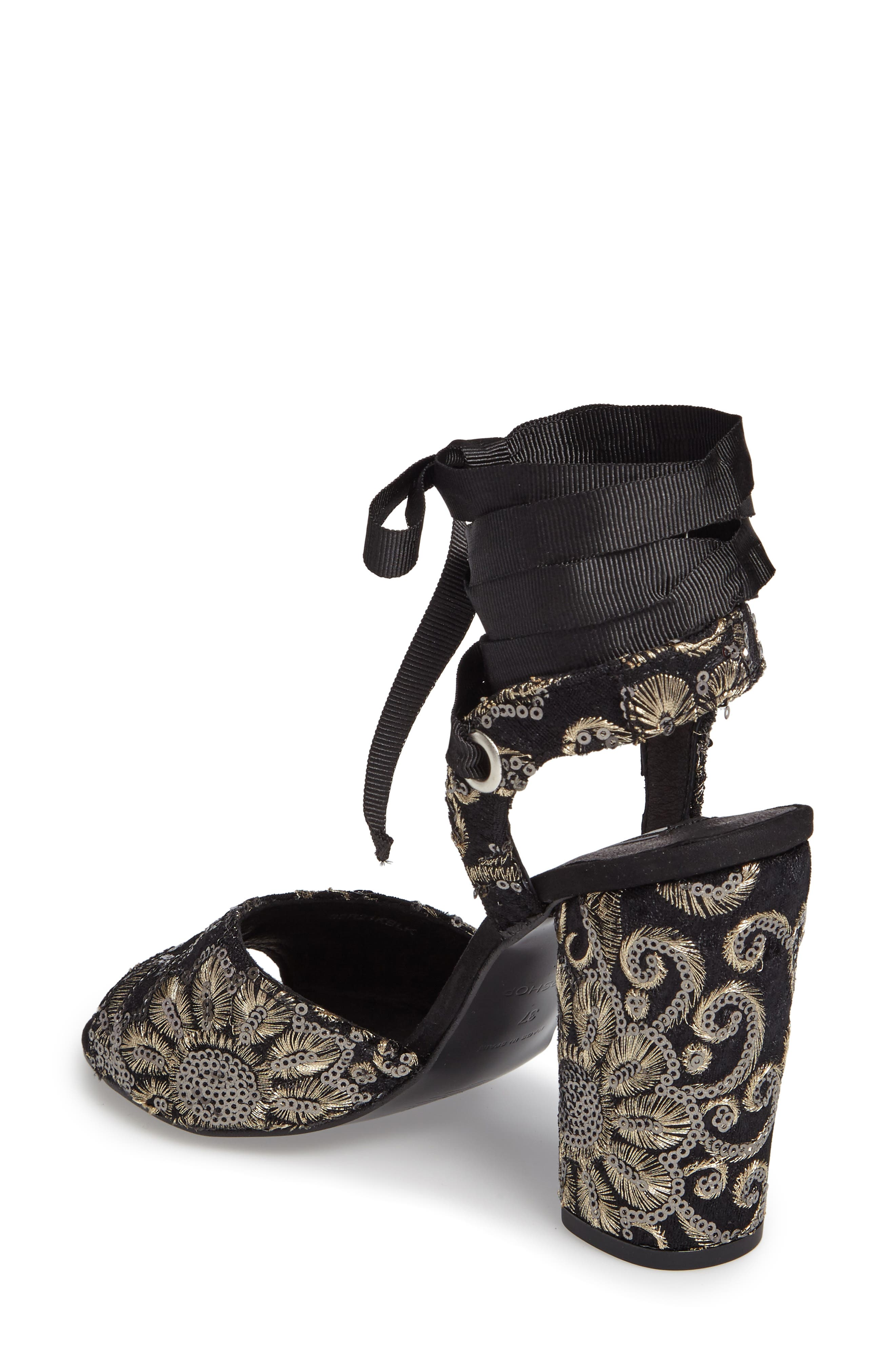 Alternate Image 2  - Topshop Rioja Embroidered Lace-Up Sandals (Women)