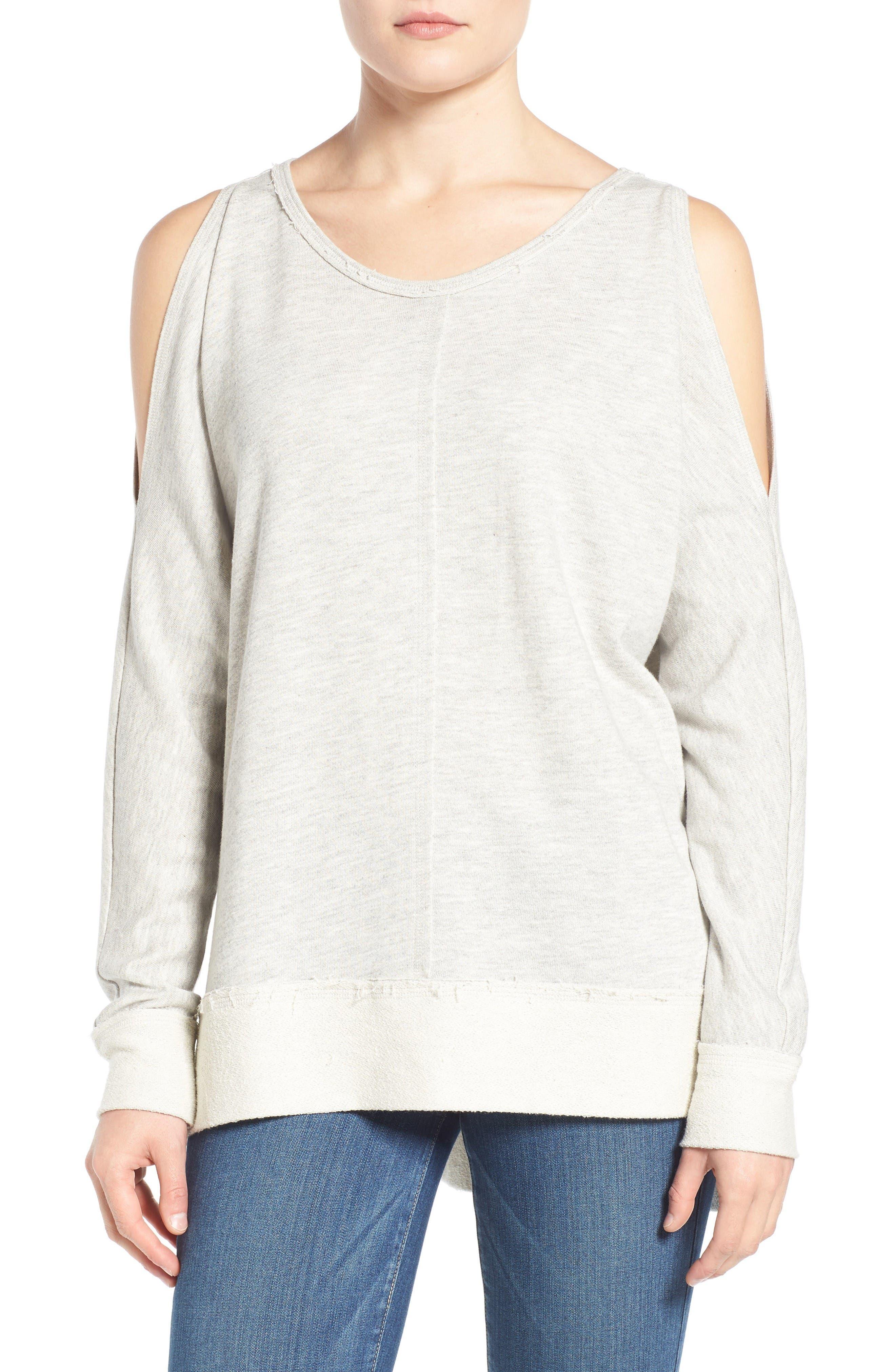Caslon® Cold Shoulder Sweatshirt (Regular & Petite)