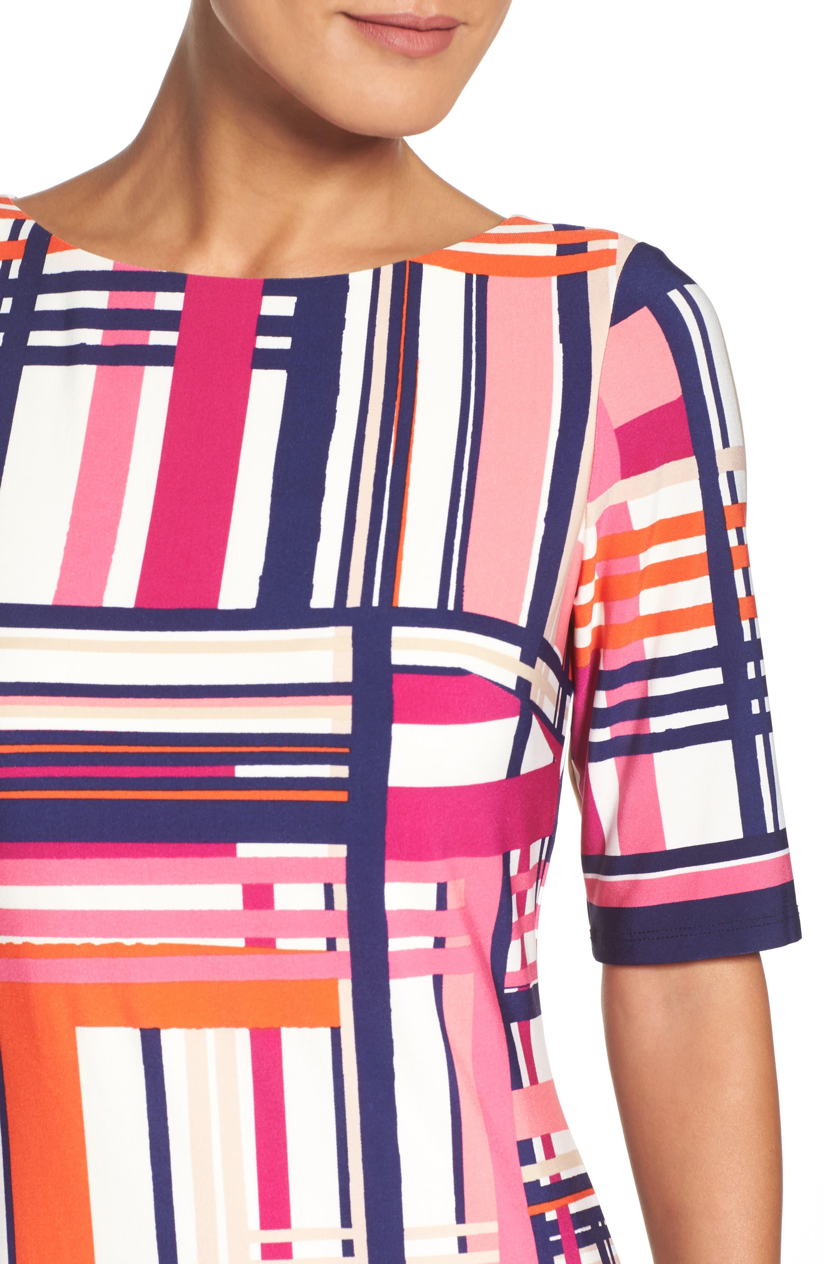 Alternate Image 5  - Eliza J Print Jersey Elbow Sleeve Shift Dress (Regular & Petite)