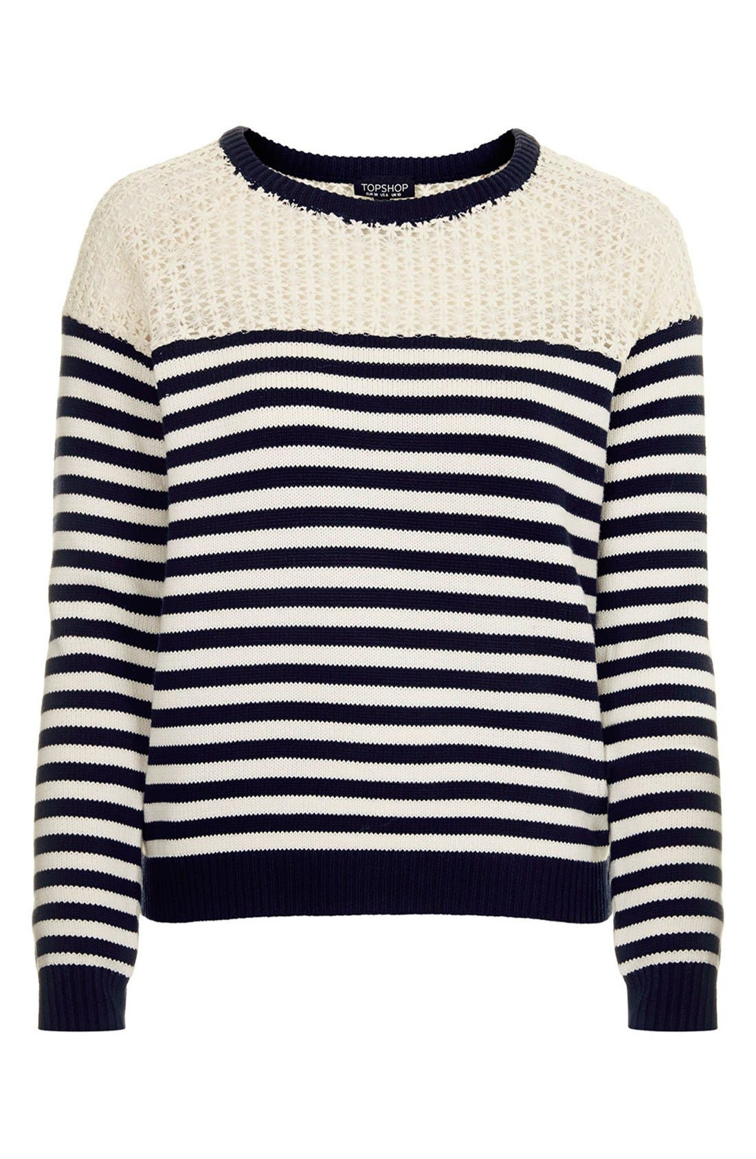 Alternate Image 5  - Topshop Lace Stripe Sweater