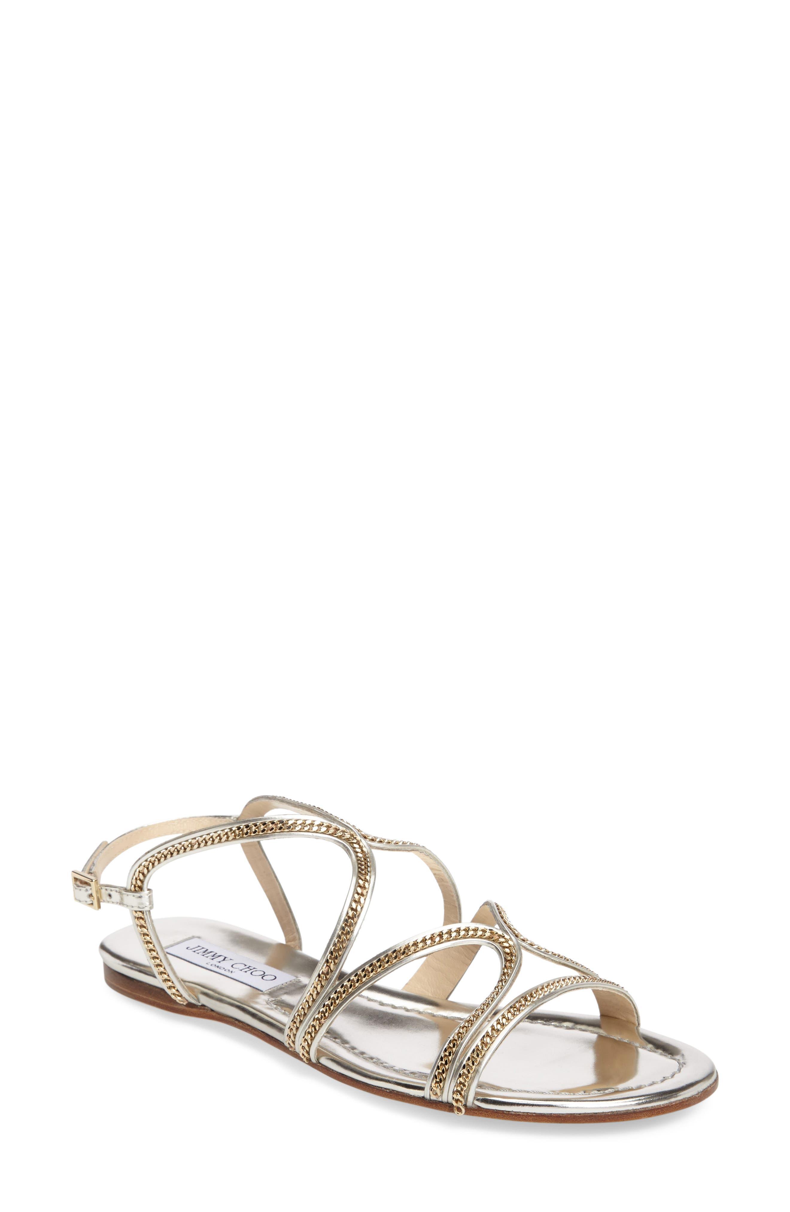 Alternate Image 1 Selected - Jimmy Choo Nickel Flat Sandal (Women)