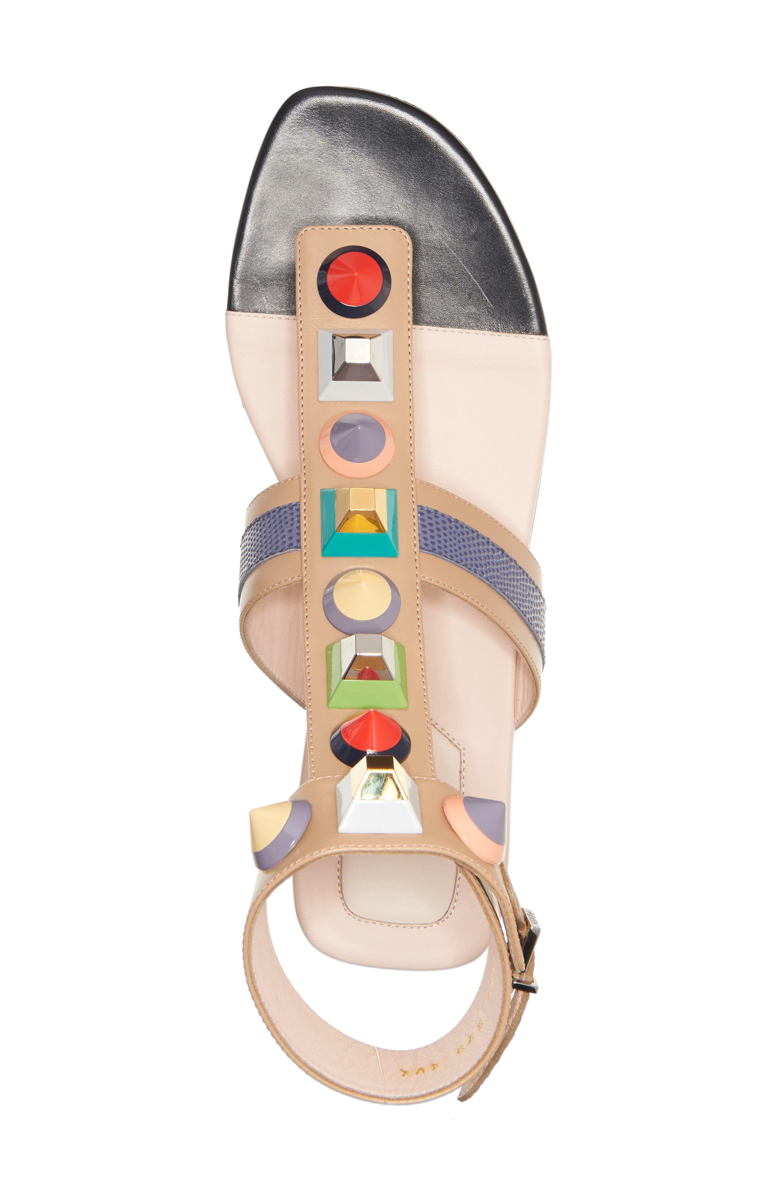 Alternate Image 3  - Fendi 'Rainbow' Studded Colorblock Gladiator Sandal (Women)