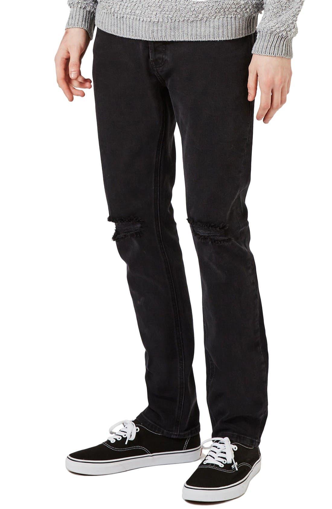 Main Image - Topman Freeway Rip Slim Fit Jeans