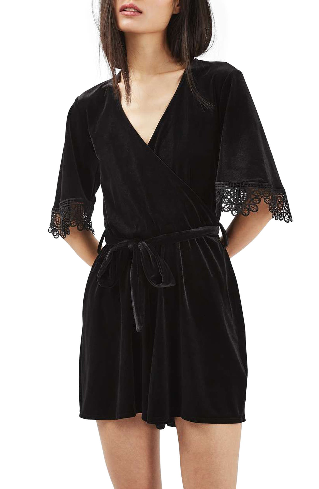 Alternate Image 1 Selected - Topshop Lace Trim Velvet Romper