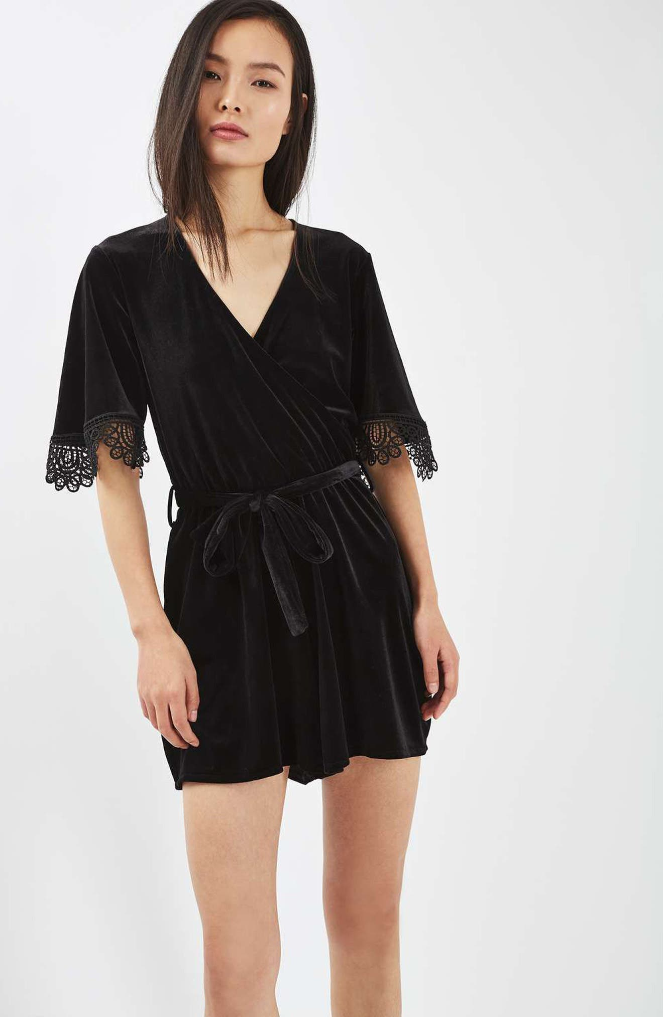 Alternate Image 5  - Topshop Lace Trim Velvet Romper