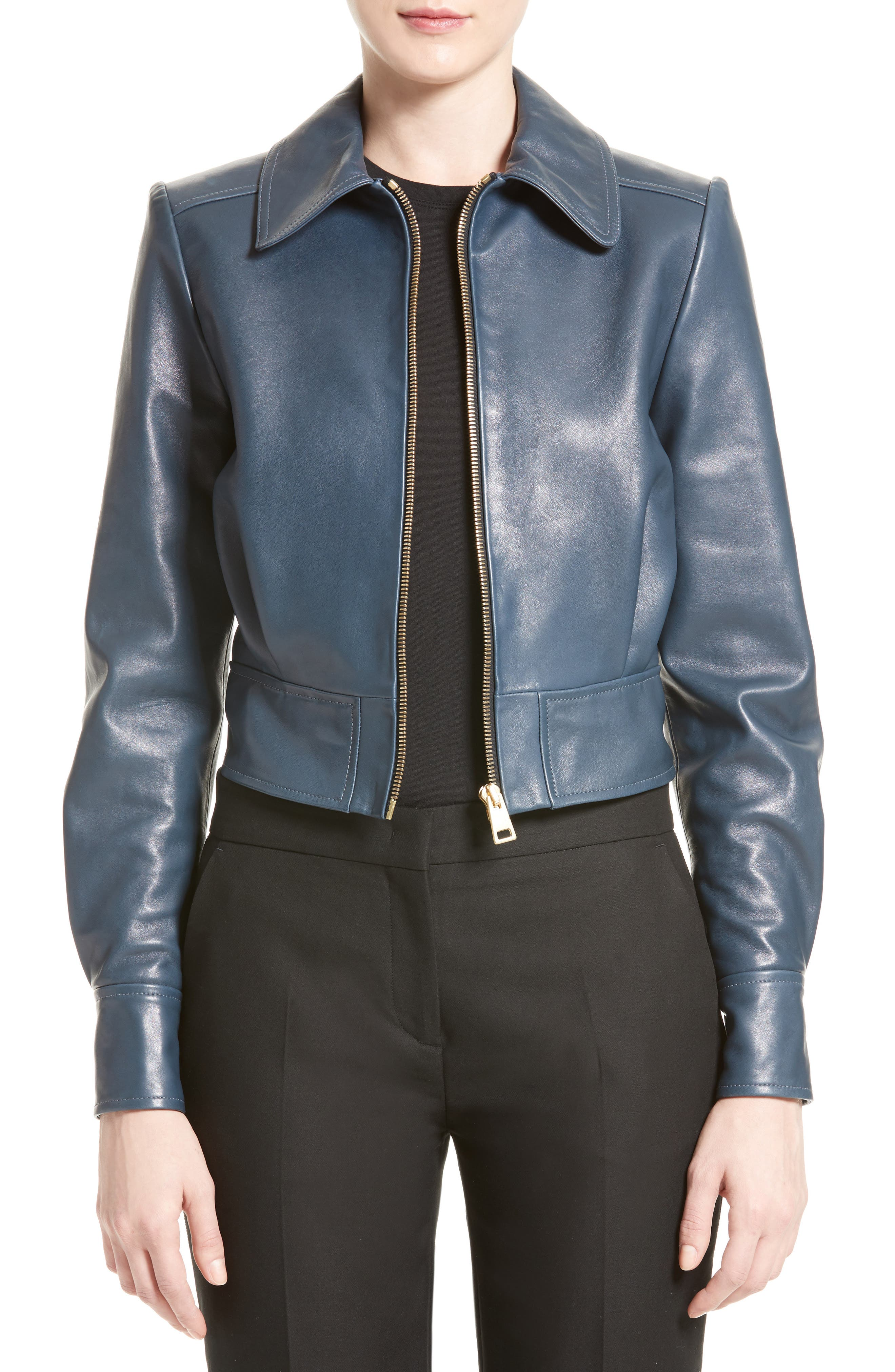 LANVIN Lambskin Leather Bomber Jacket