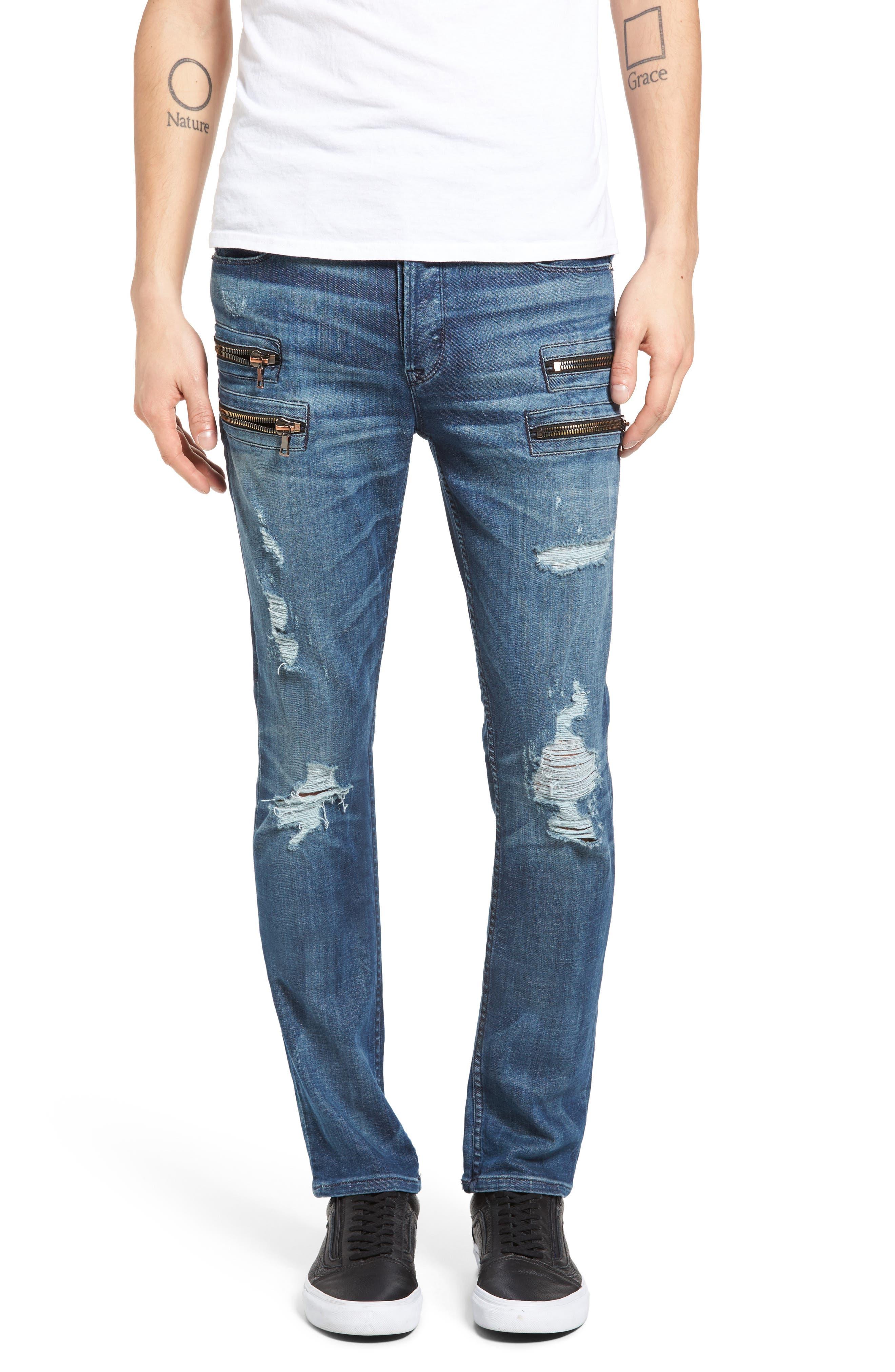 Hudson Jeans Broderick Biker Skinny Fit Jeans (Hayday)