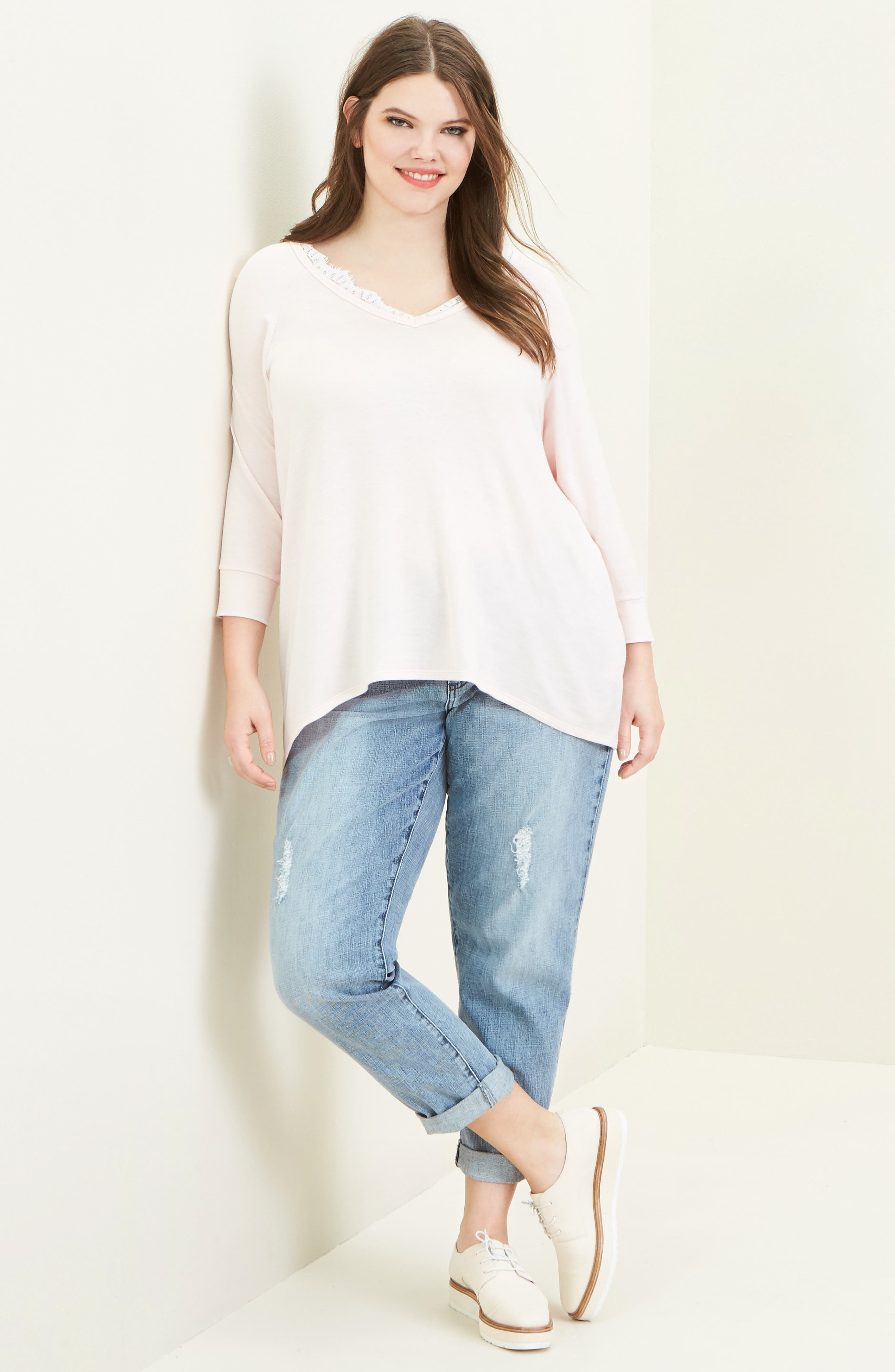 Alternate Image 2  - KUT from the Kloth Catherine Fray Hem Distressed Boyfriend Jeans (Plus Size)