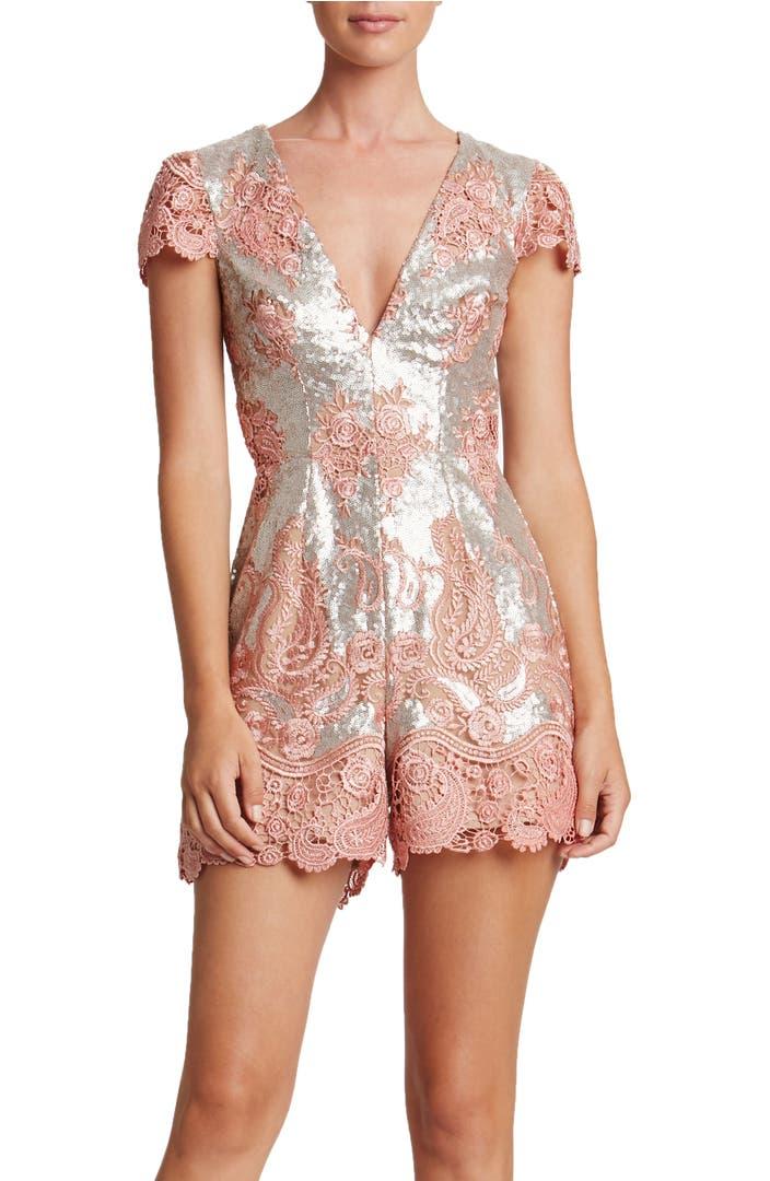 Dress the Population Sabrina Embroidered Sequin Romper ...