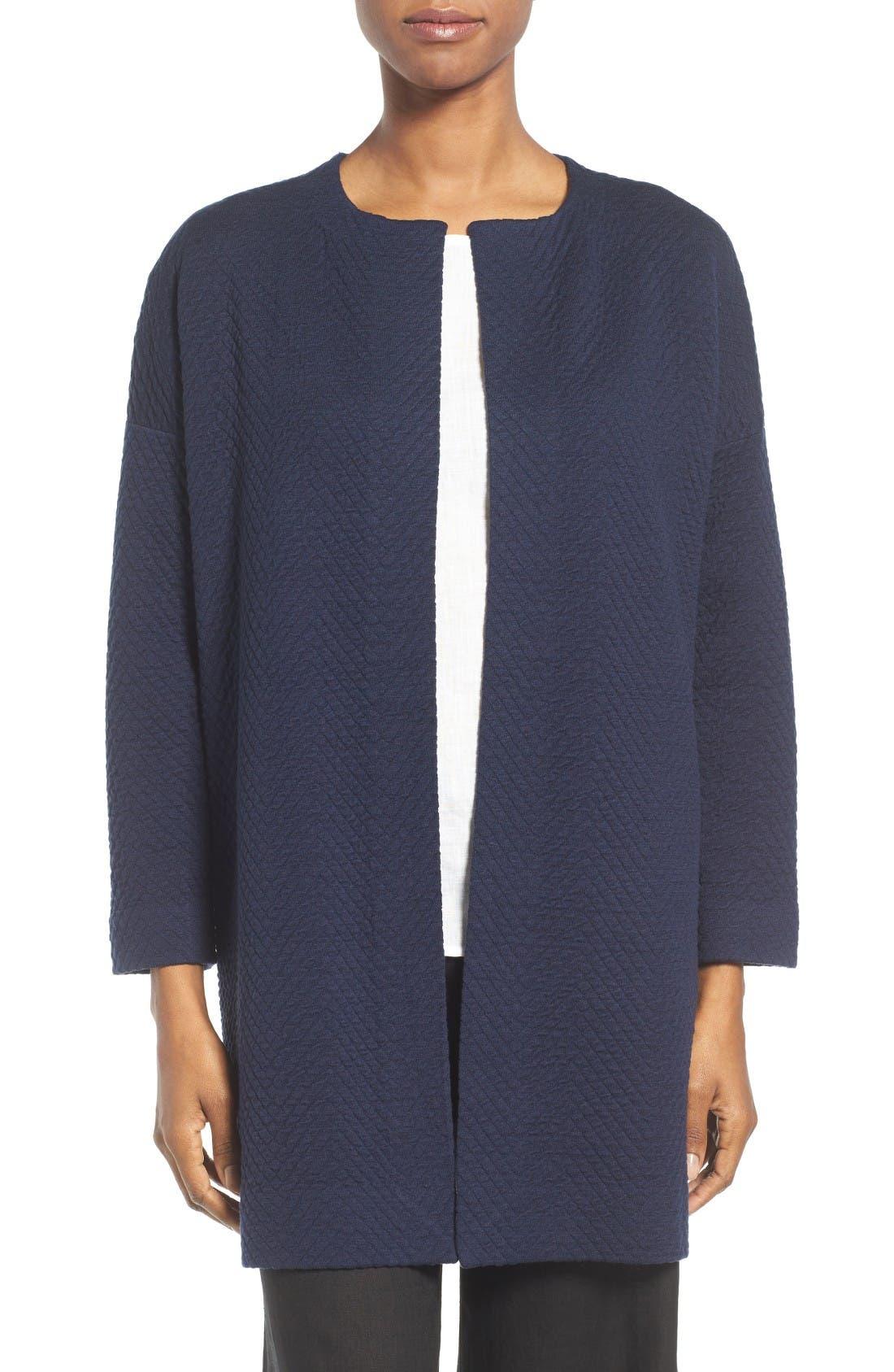 Alternate Image 1 Selected - Eileen Fisher Silk Blend Jacquard Jacket (Regular & Petite)