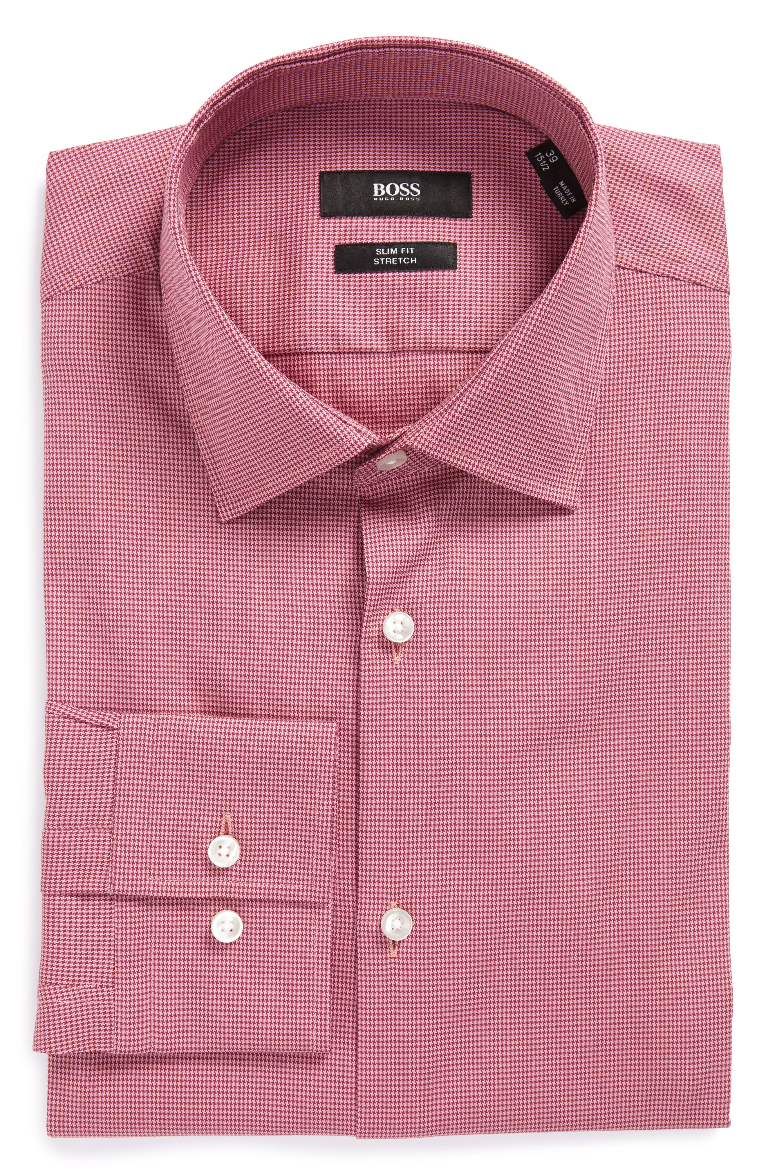 BOSS Jenno Slim Fit Houndstooth Dress Shirt