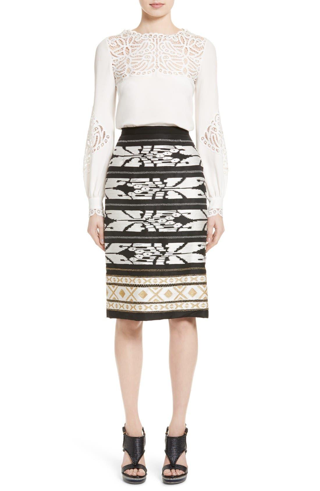 Alternate Image 6  - Oscar de la Renta Ikat Embroidered Pencil Skirt