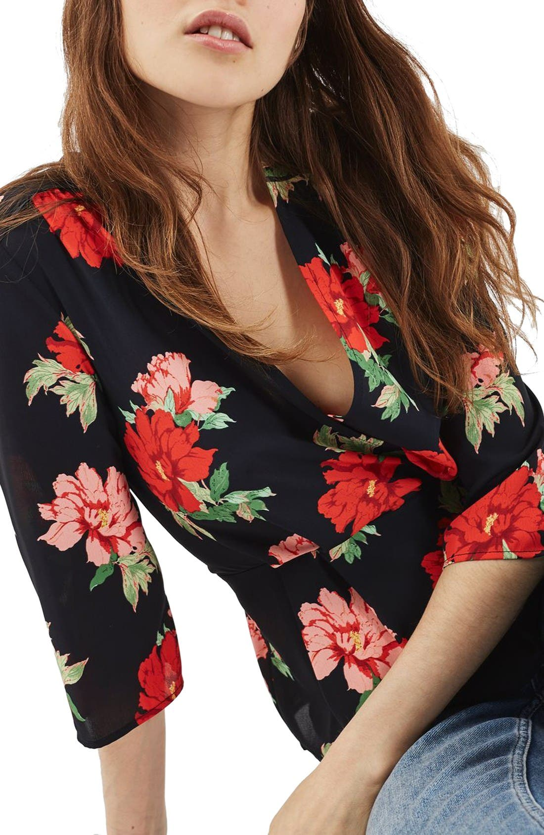 Alternate Image 5  - Topshop Rita Floral Wrap Top