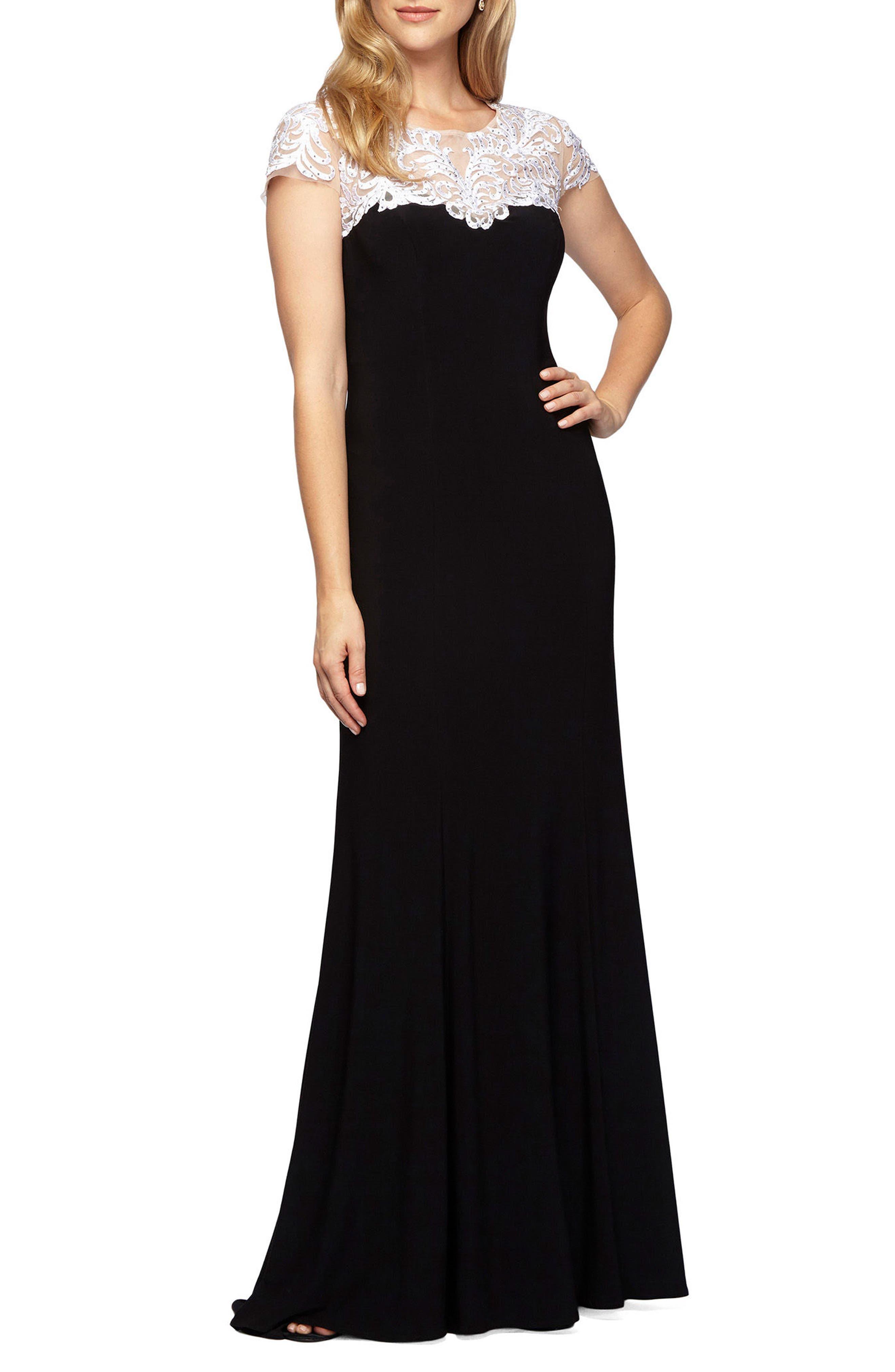 ALEX EVENINGS Lace Yoke Jersey Gown