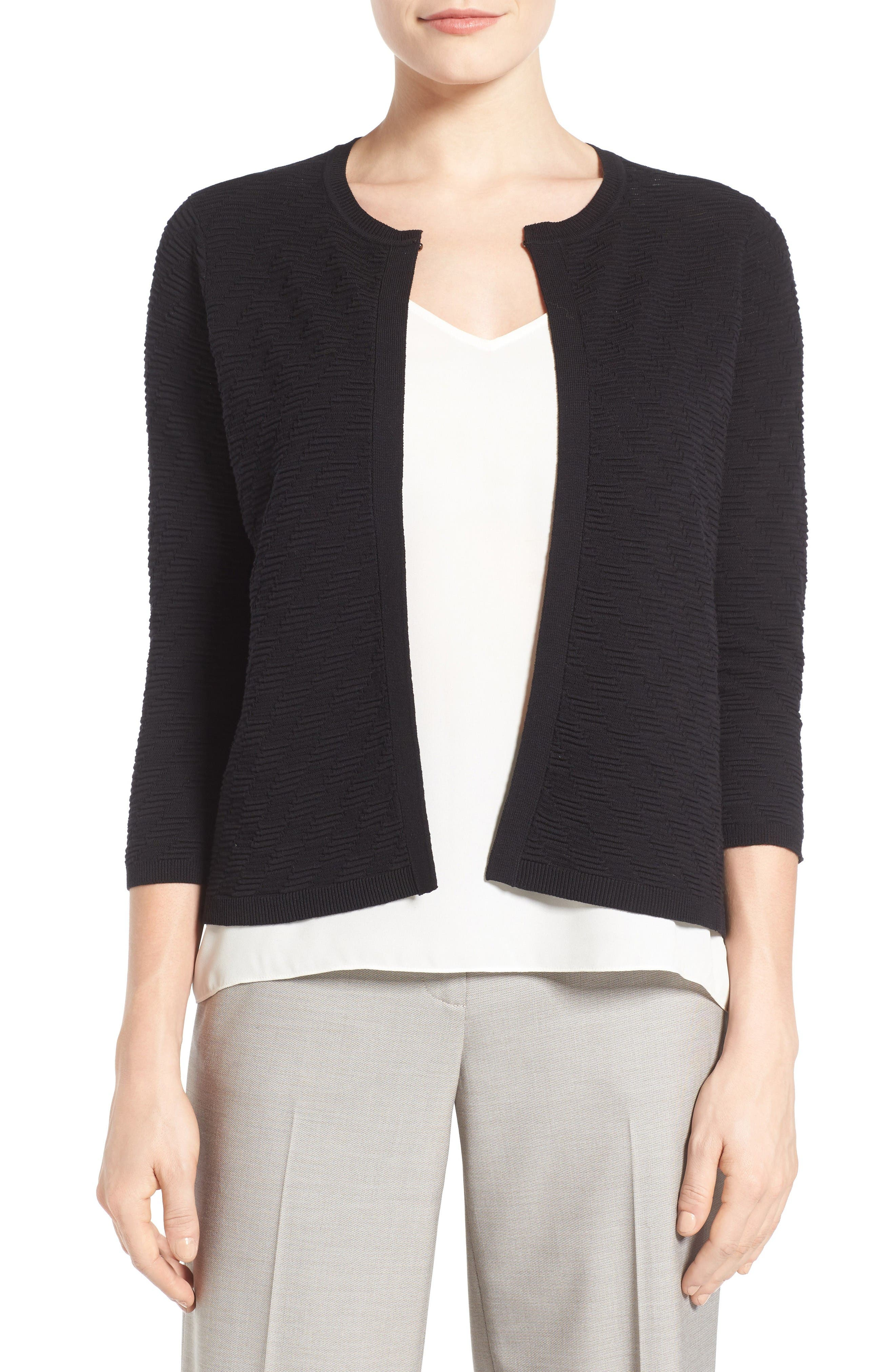 EMERSON ROSE Cotton Blend Textured Cardigan