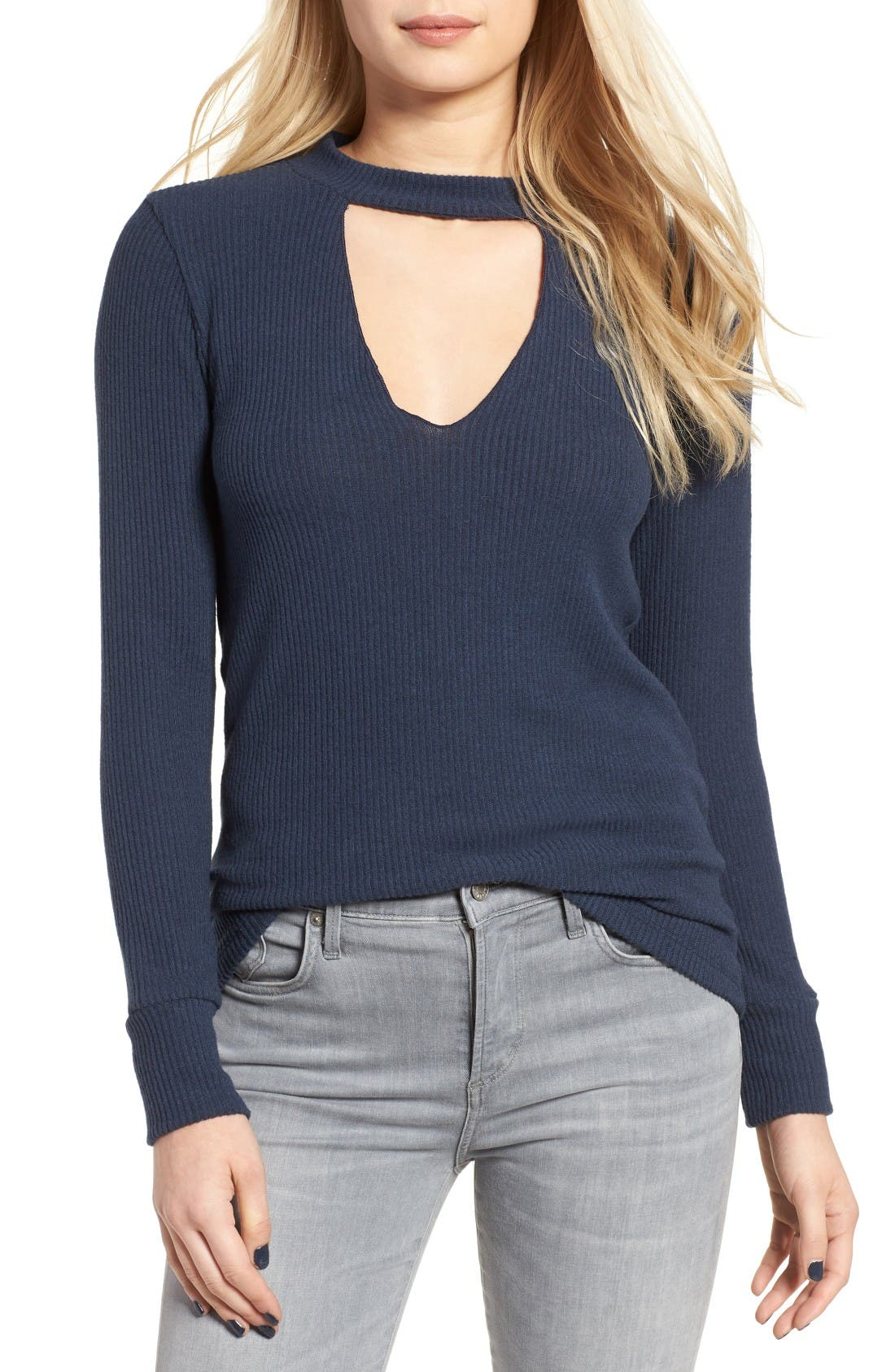 Alternate Image 1 Selected - LNA Bardot Cutout Sweater