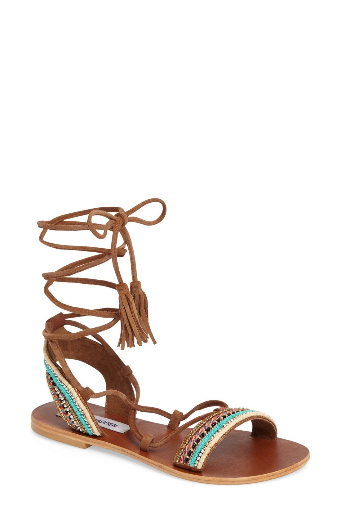Alternate Image 1 Selected - Steve Madden Orva Embellished Ghillie Wrap Sandal (Women)