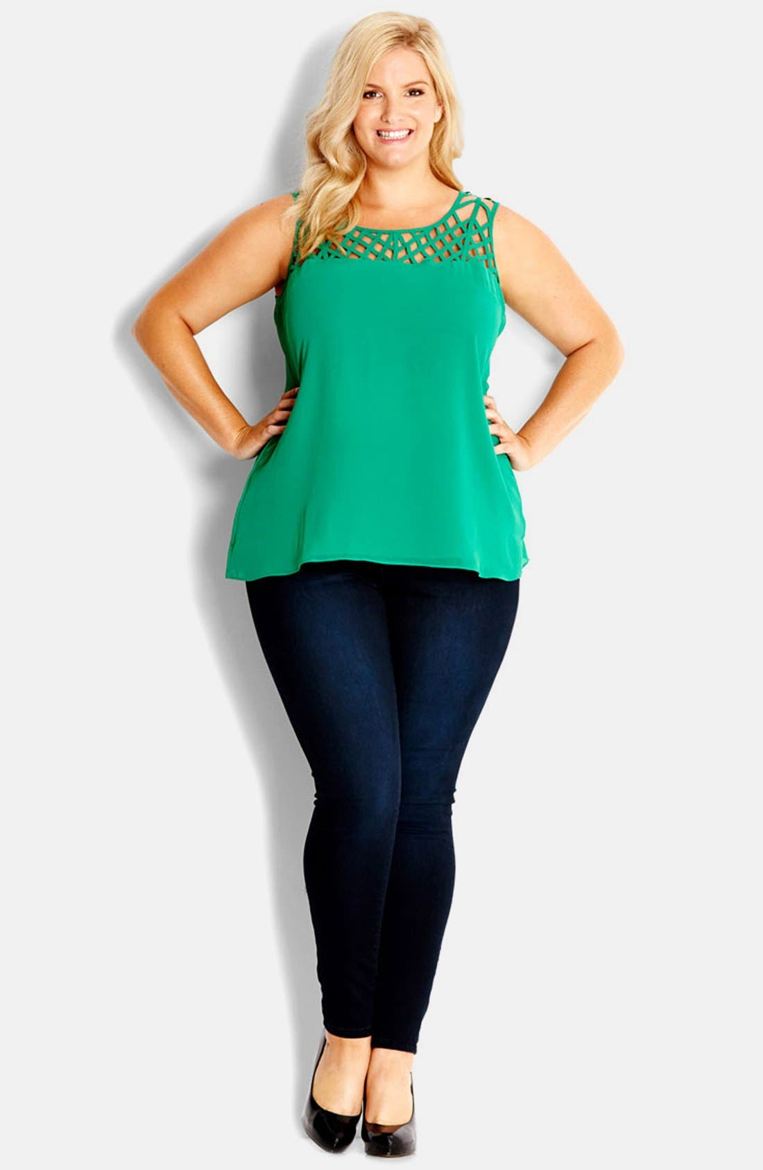 Alternate Image 1 Selected - City Chic Crosshatch Top (Plus Size)